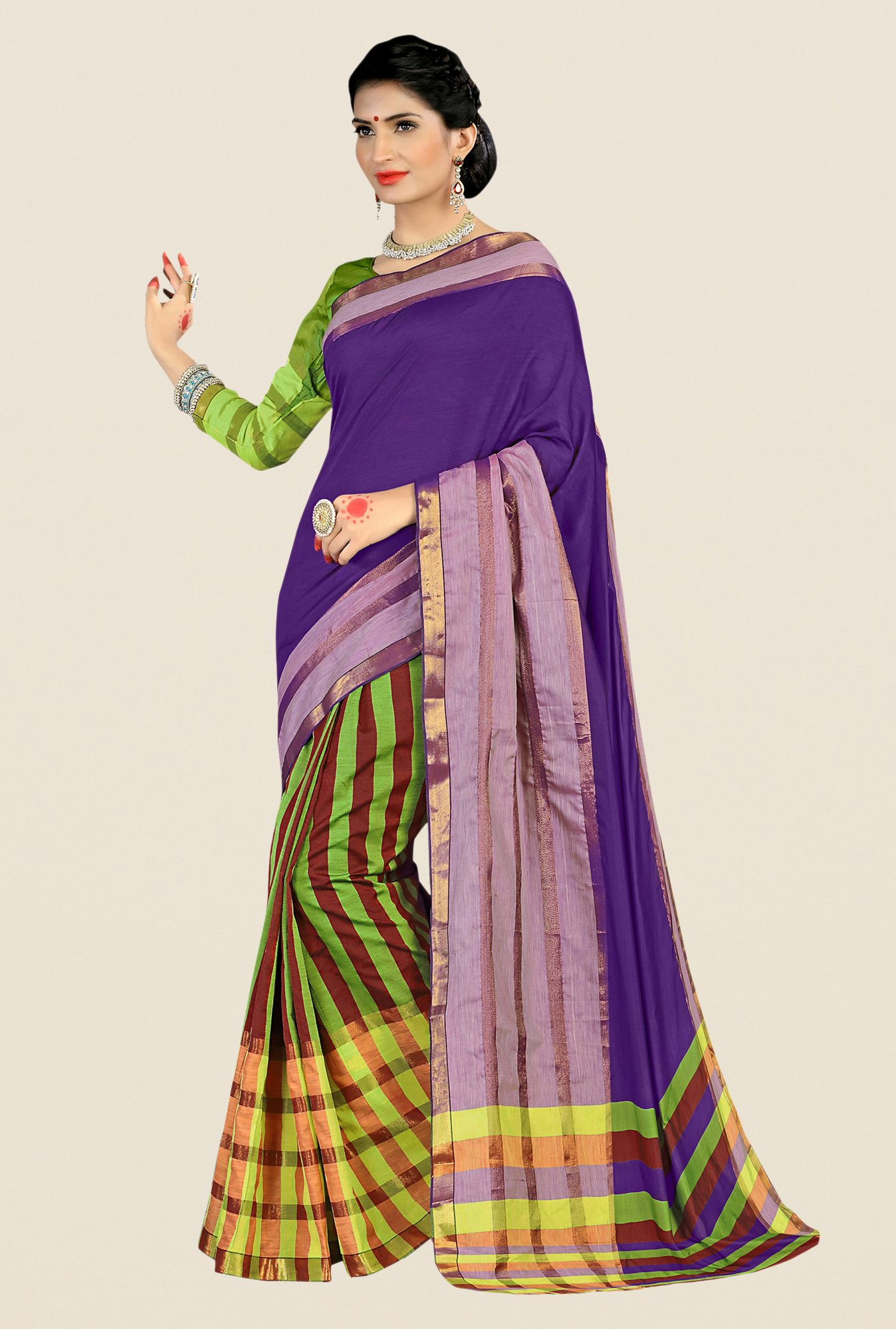Shonaya Green & Purple Cotton Silk Striped Saree