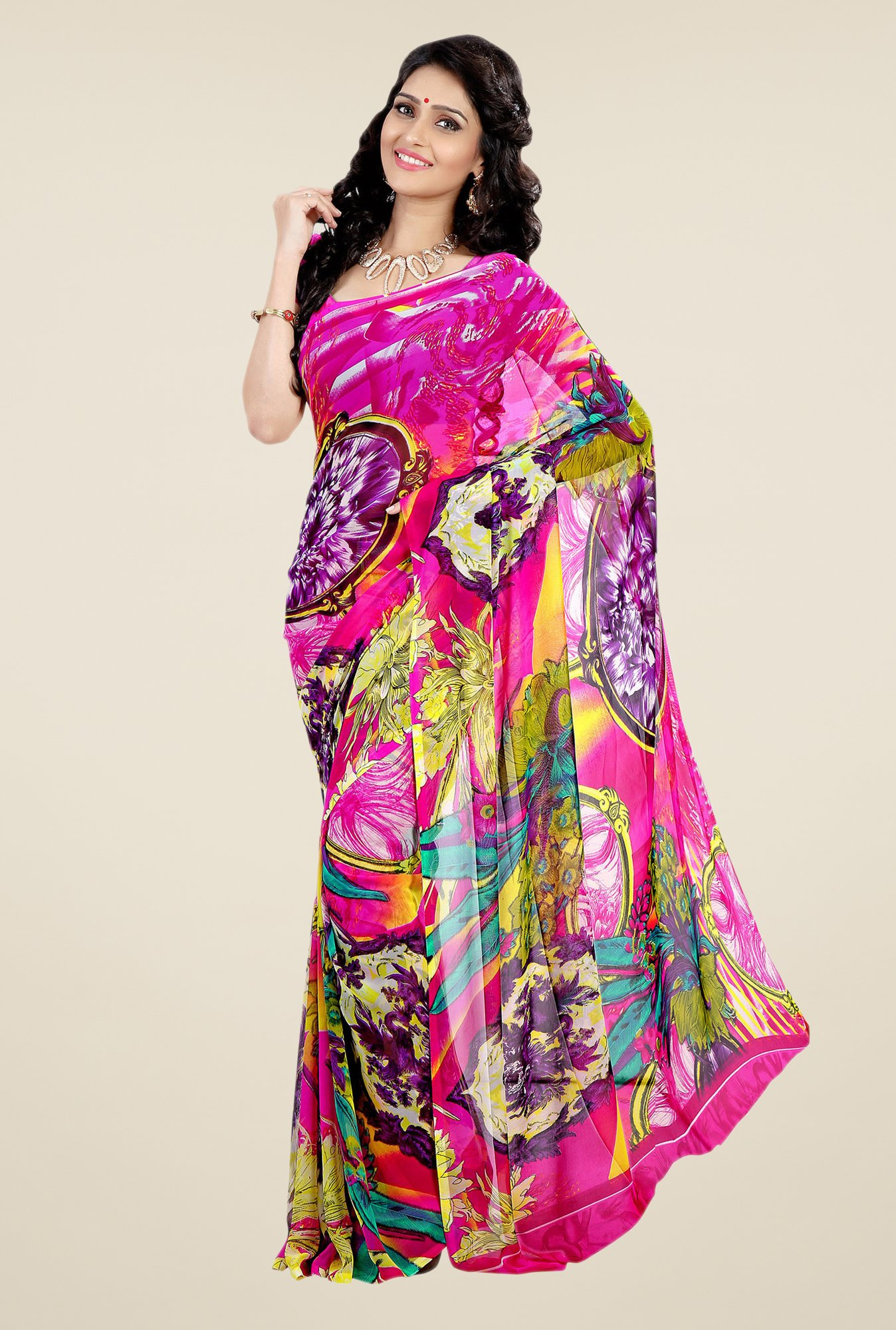 Shonaya Multicolor Faux Georgette Printed Saree