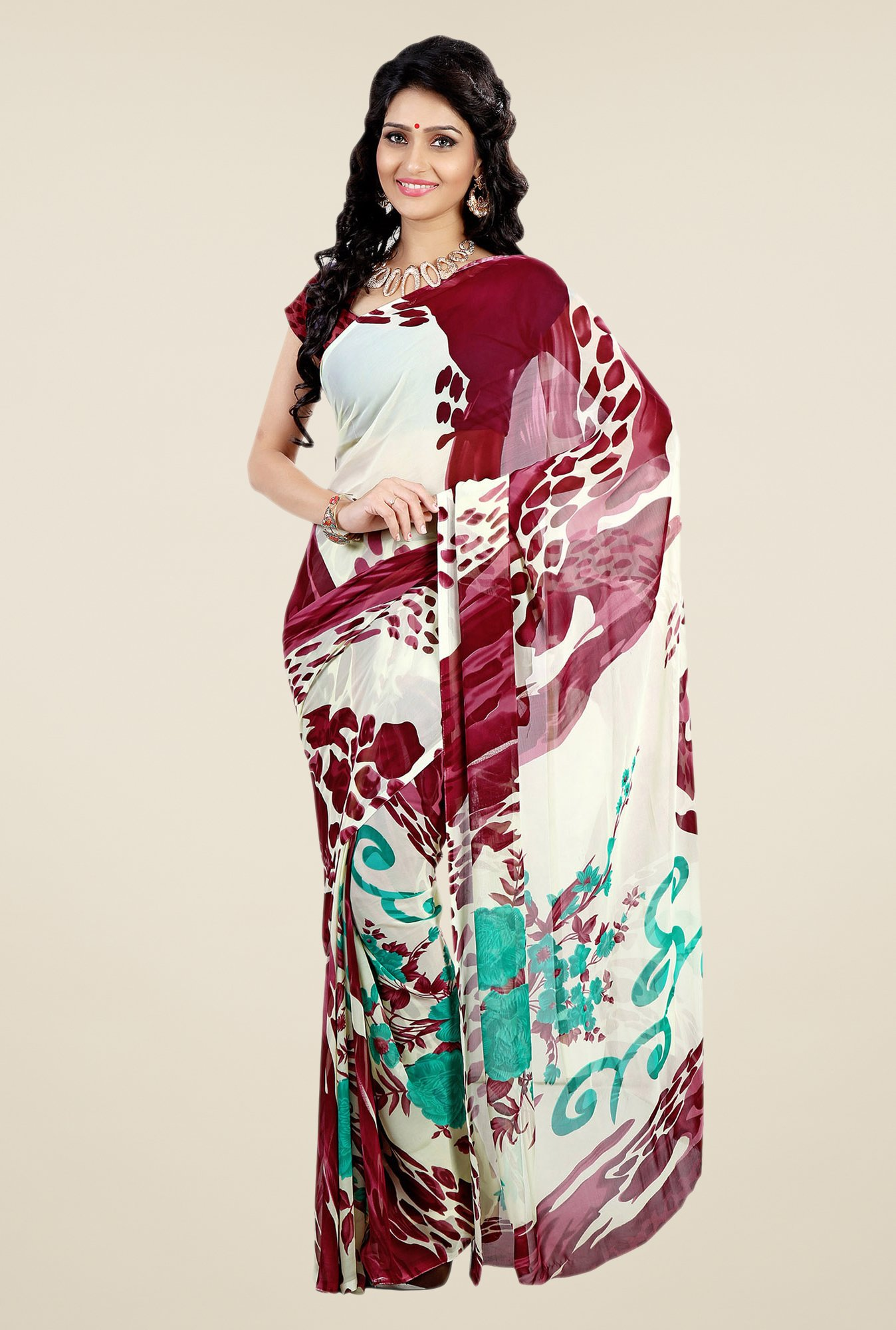 Shonaya Maroon & Cream Faux Georgette Printed Saree