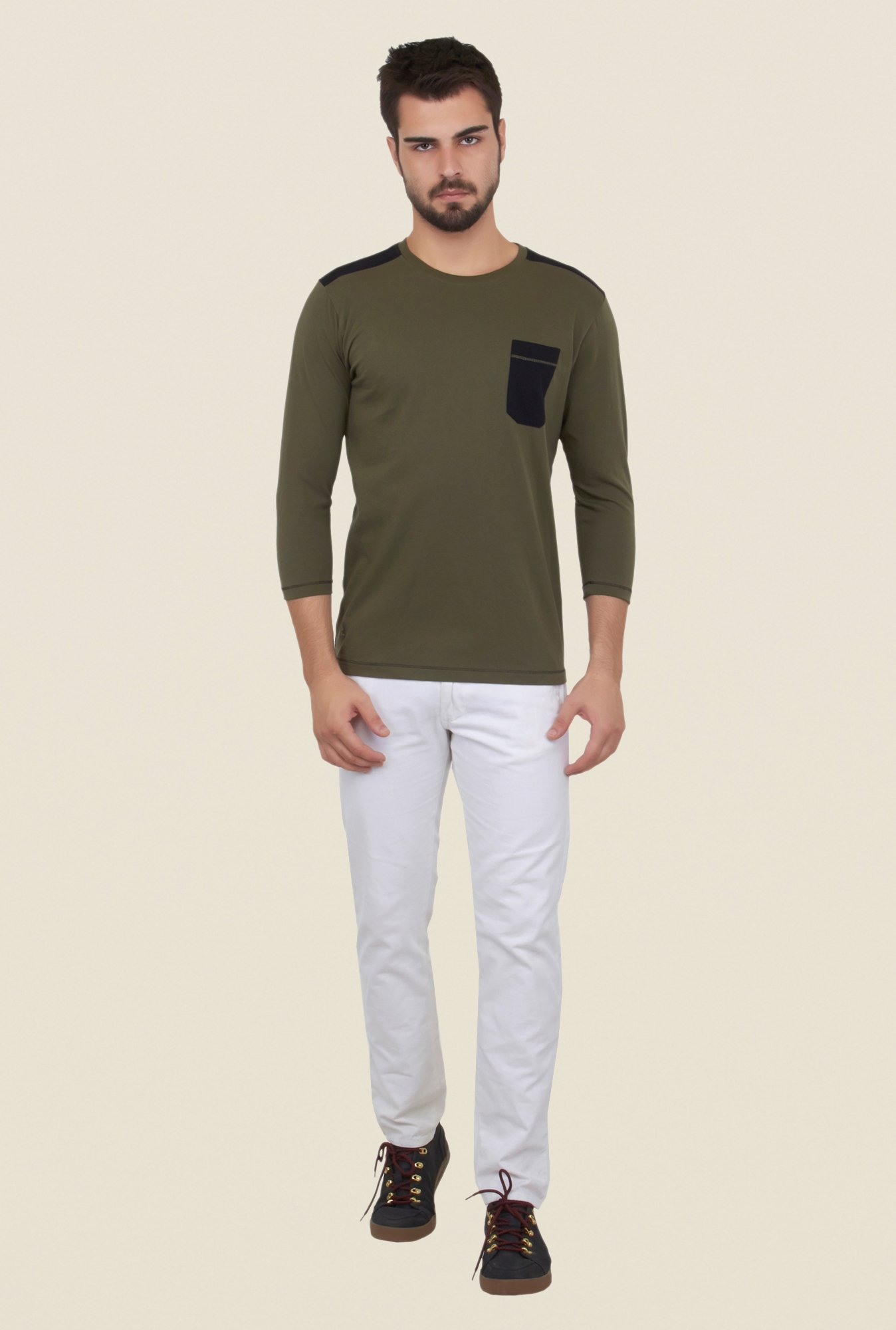 Cult Fiction Olive Solid T Shirt