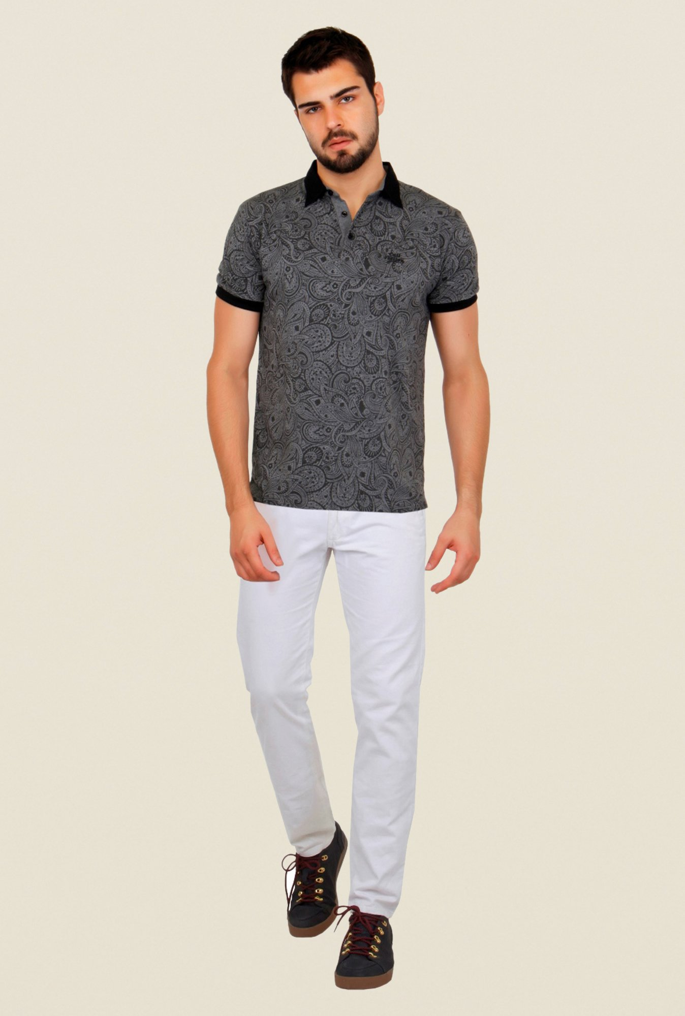 Cult Fiction Grey Paisley Print Polo T Shirt