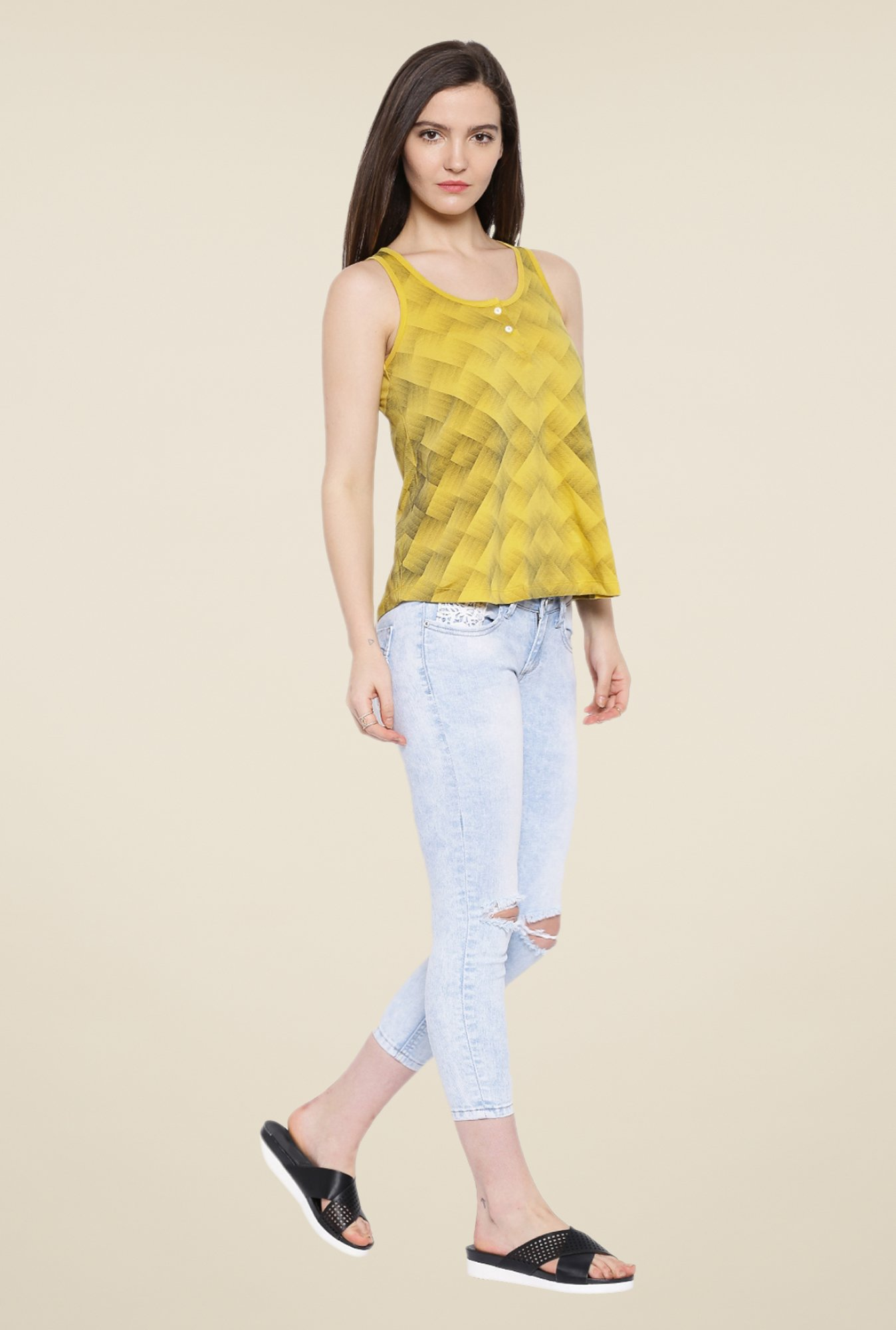 Cult Fiction Mustard Printed Top