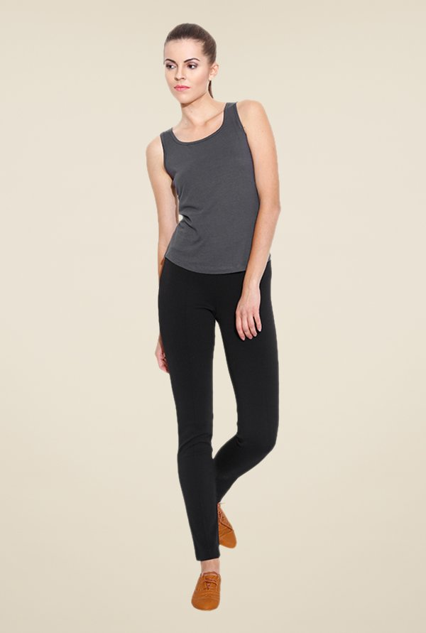 Cult Fiction Grey Solid Tank Top