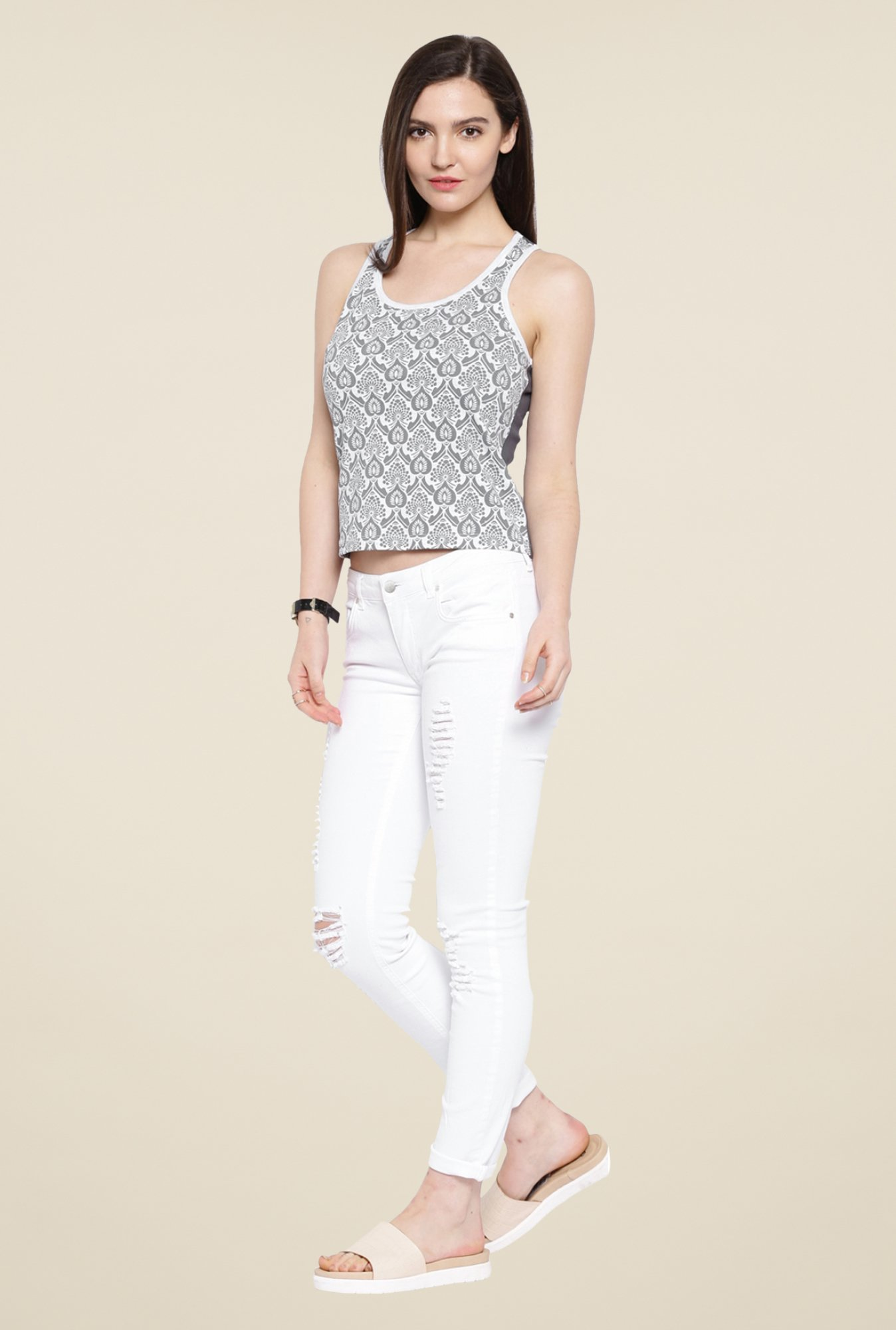 Cult Fiction White Paisley Print Top