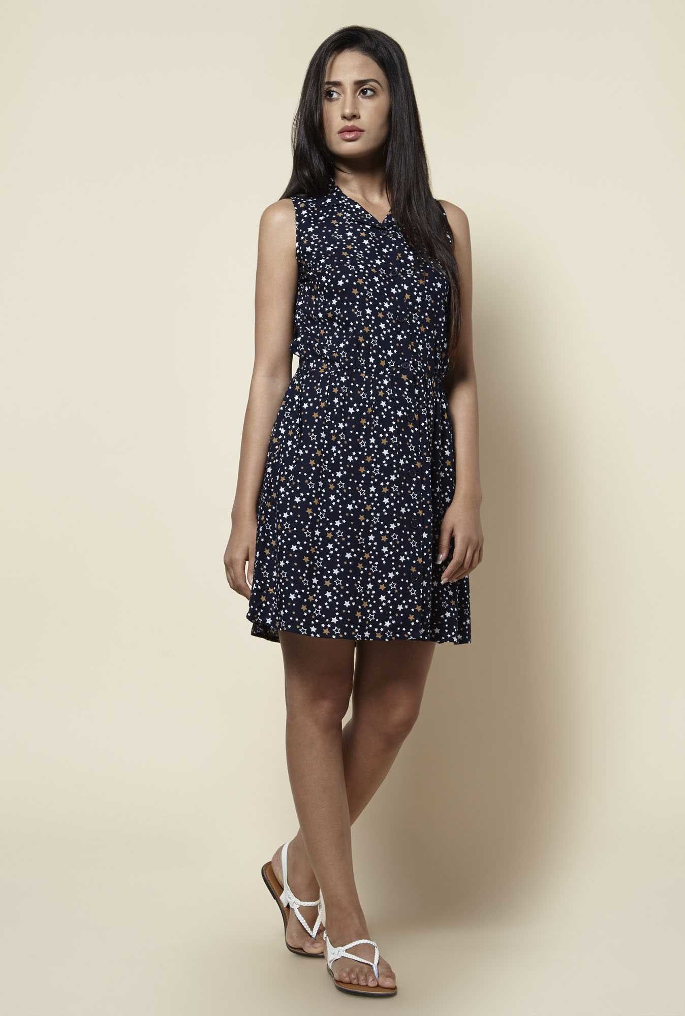 Zudio Navy Printed Dress