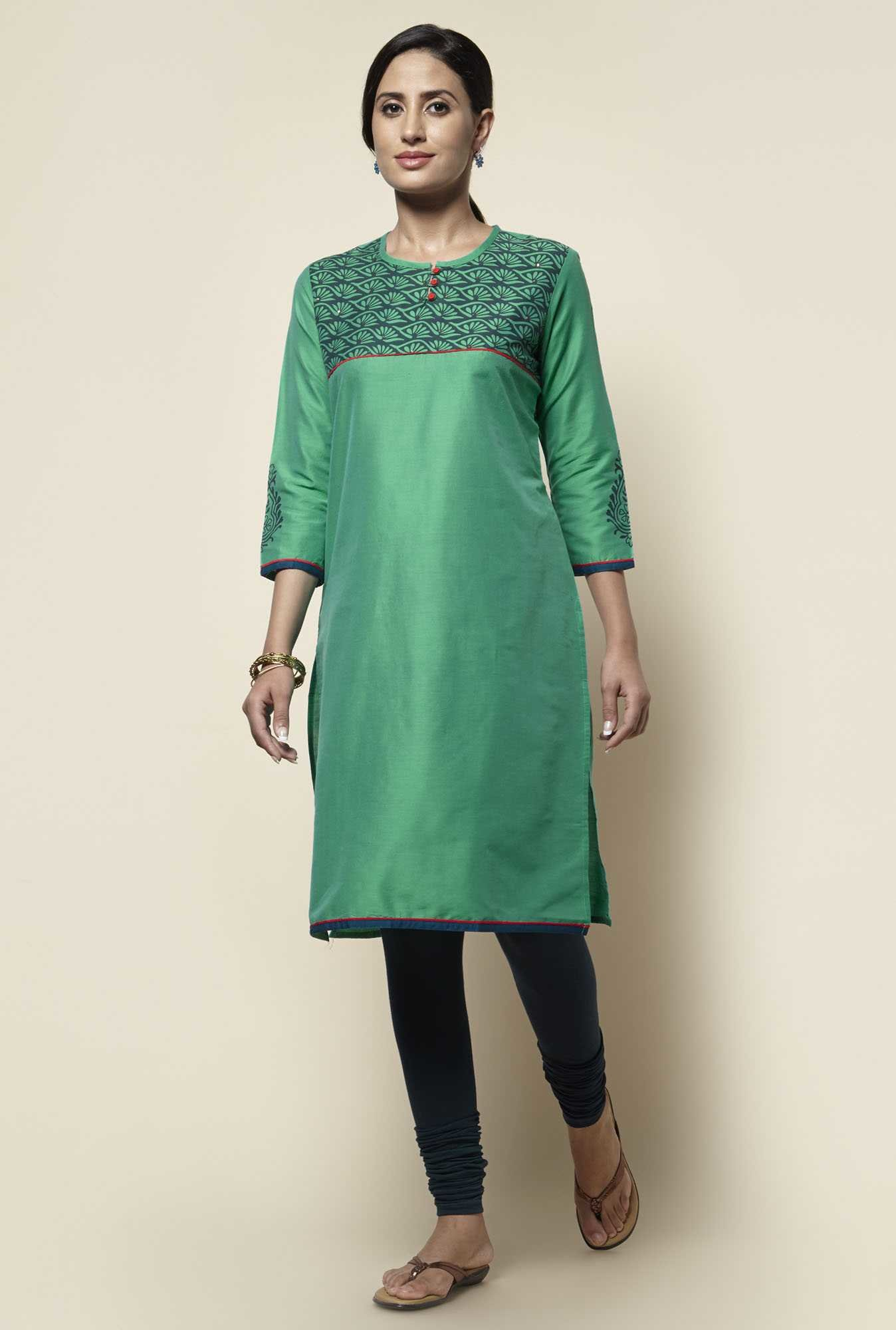 Zudio Green Printed Kurta