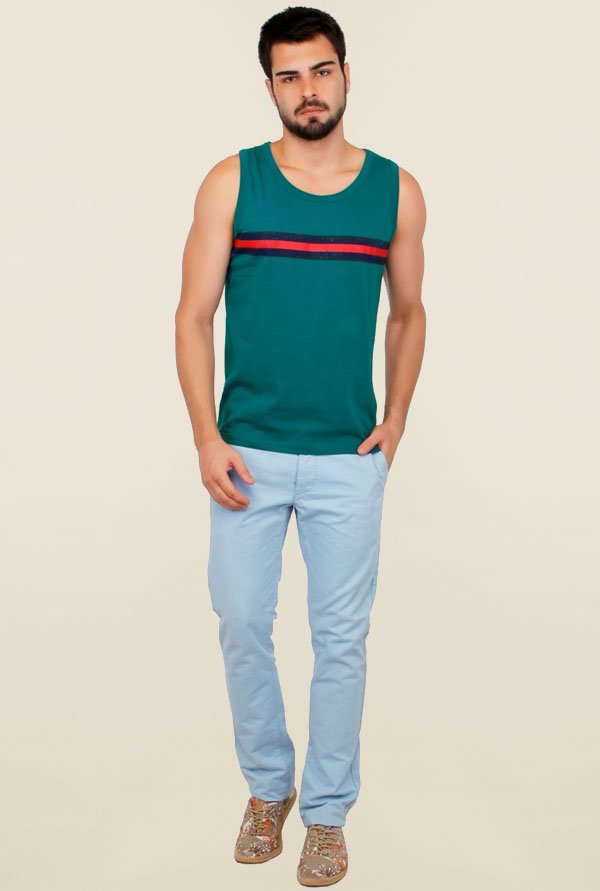 Cult Fiction Teal Striped Vest