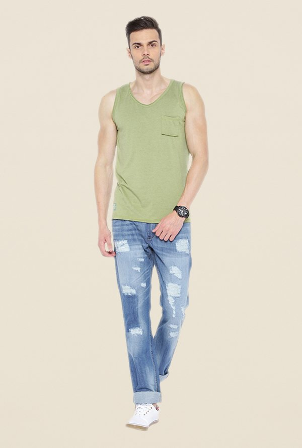 Cult Fiction Green Solid Vest