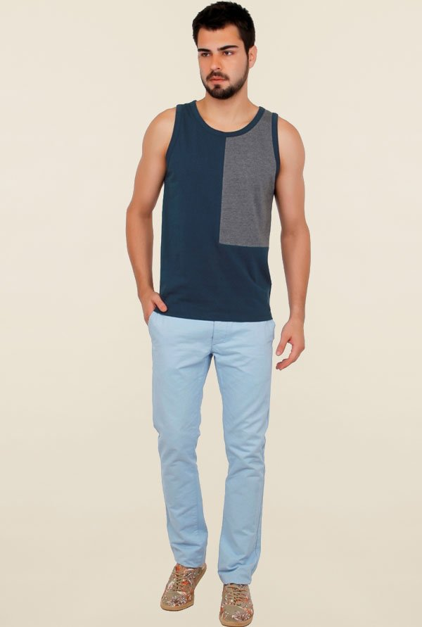 Cult Fiction Navy Solid Vest