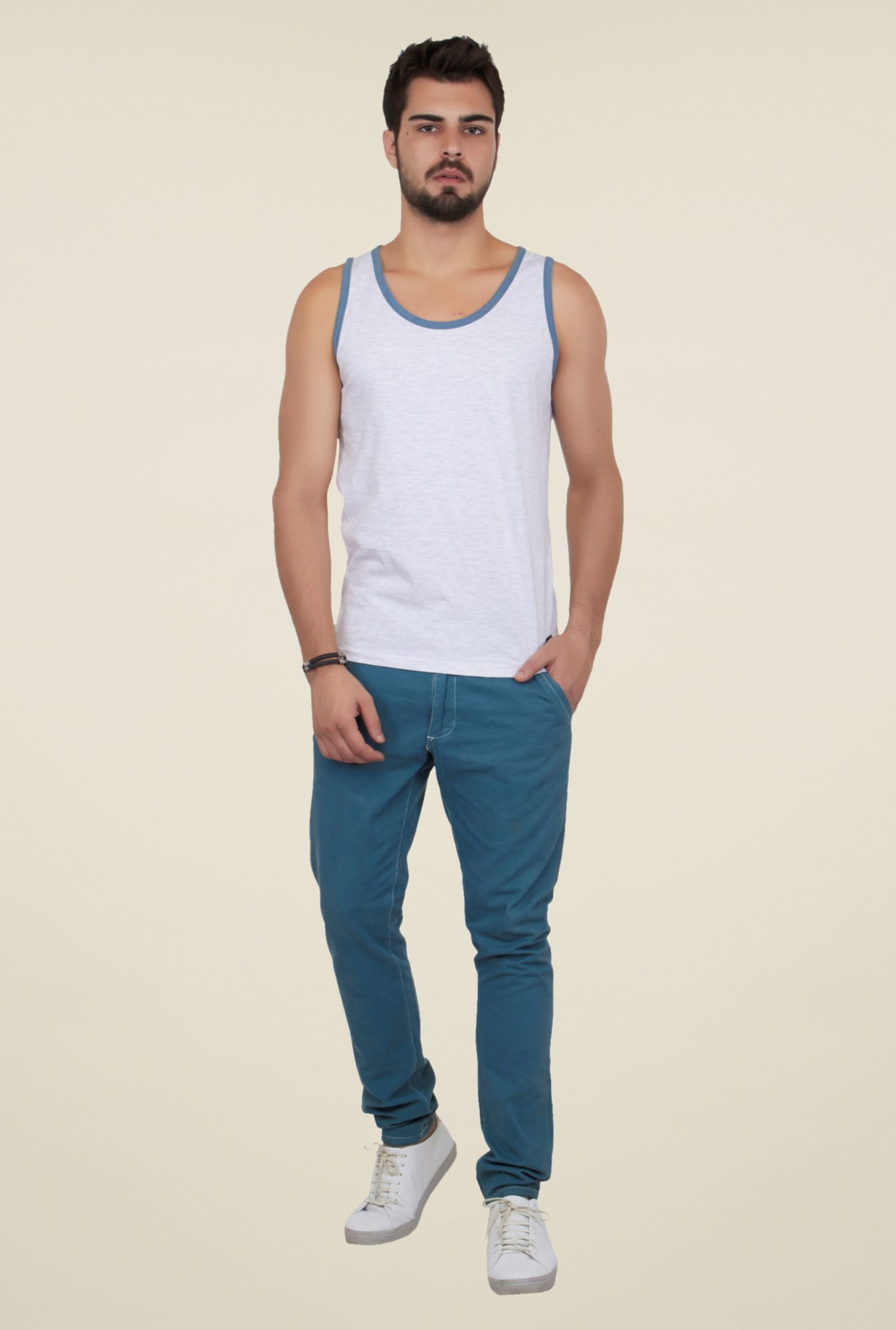 Cult Fiction White Solid Vest