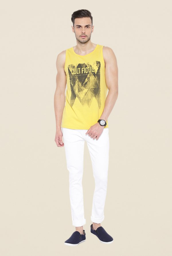 Cult Fiction Yellow Graphic Print Vest