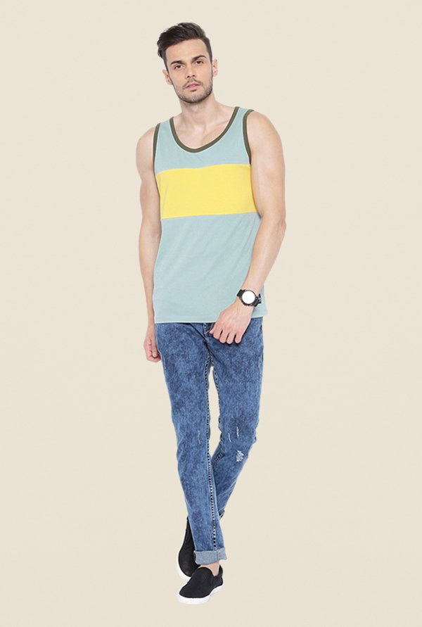 Cult Fiction Light Blue Striped Vest