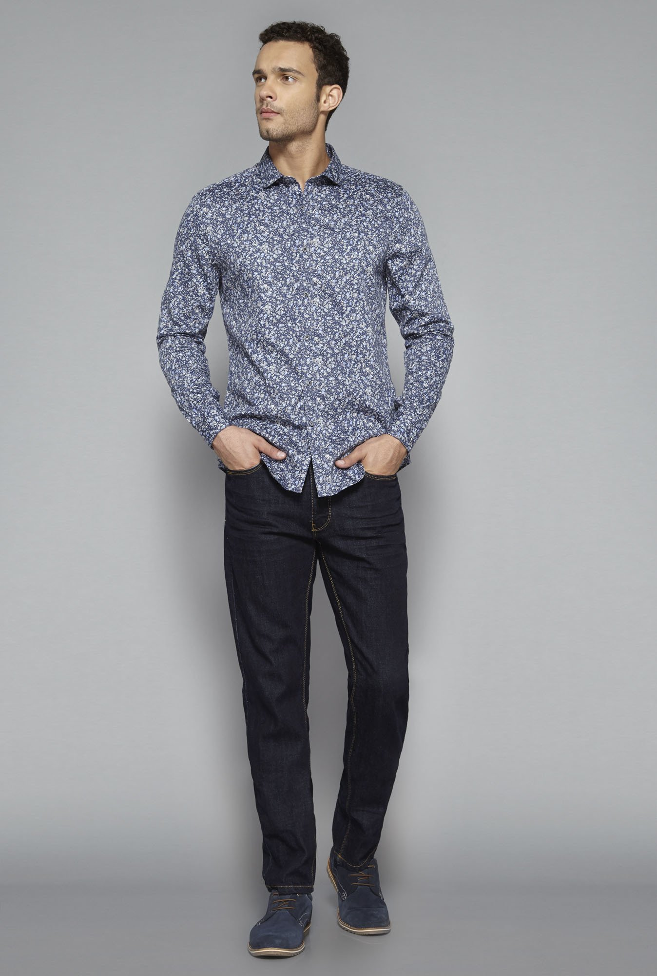Ascot by Westside Navy Printed Shirt