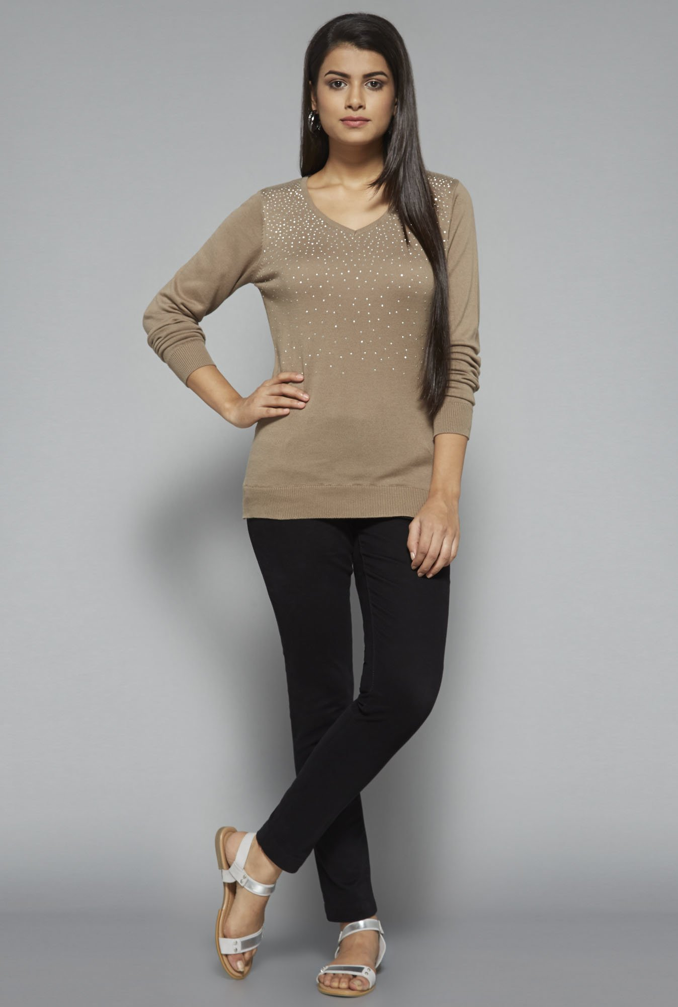 LOV by Westside Beige Embellished Blouse