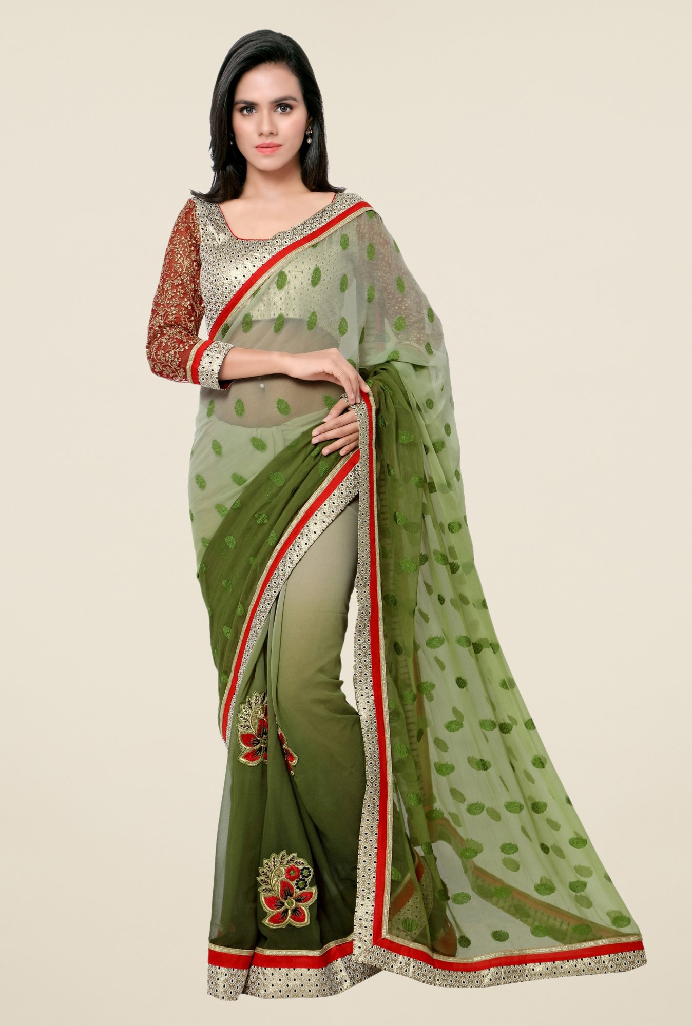 Triveni Green Printed Georgette Jacquard Saree