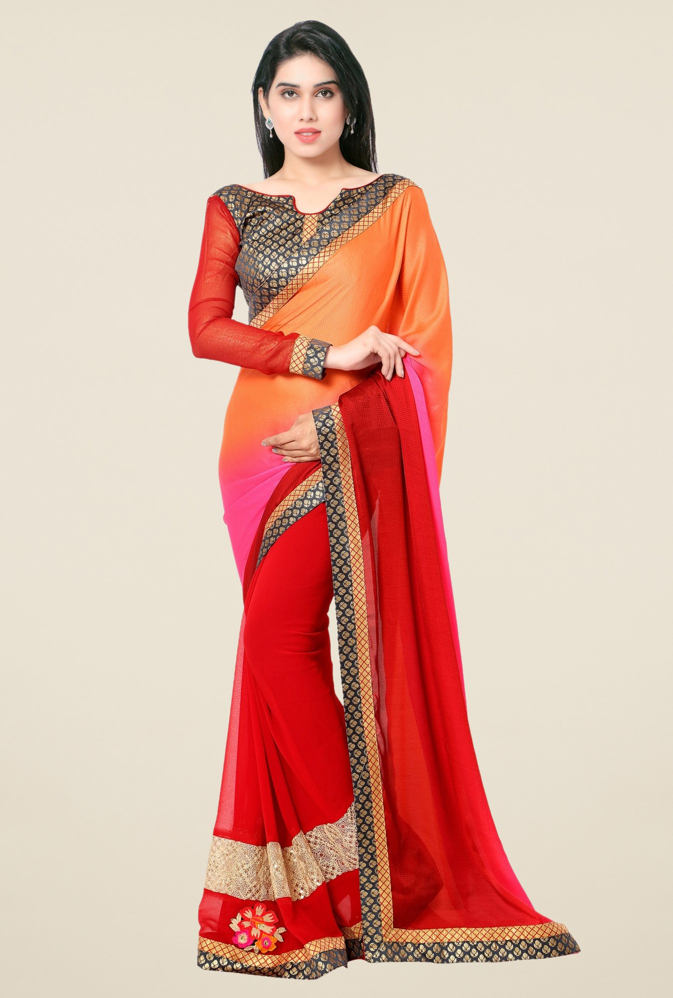 Triveni Red Solid Georgette Jacquard Saree