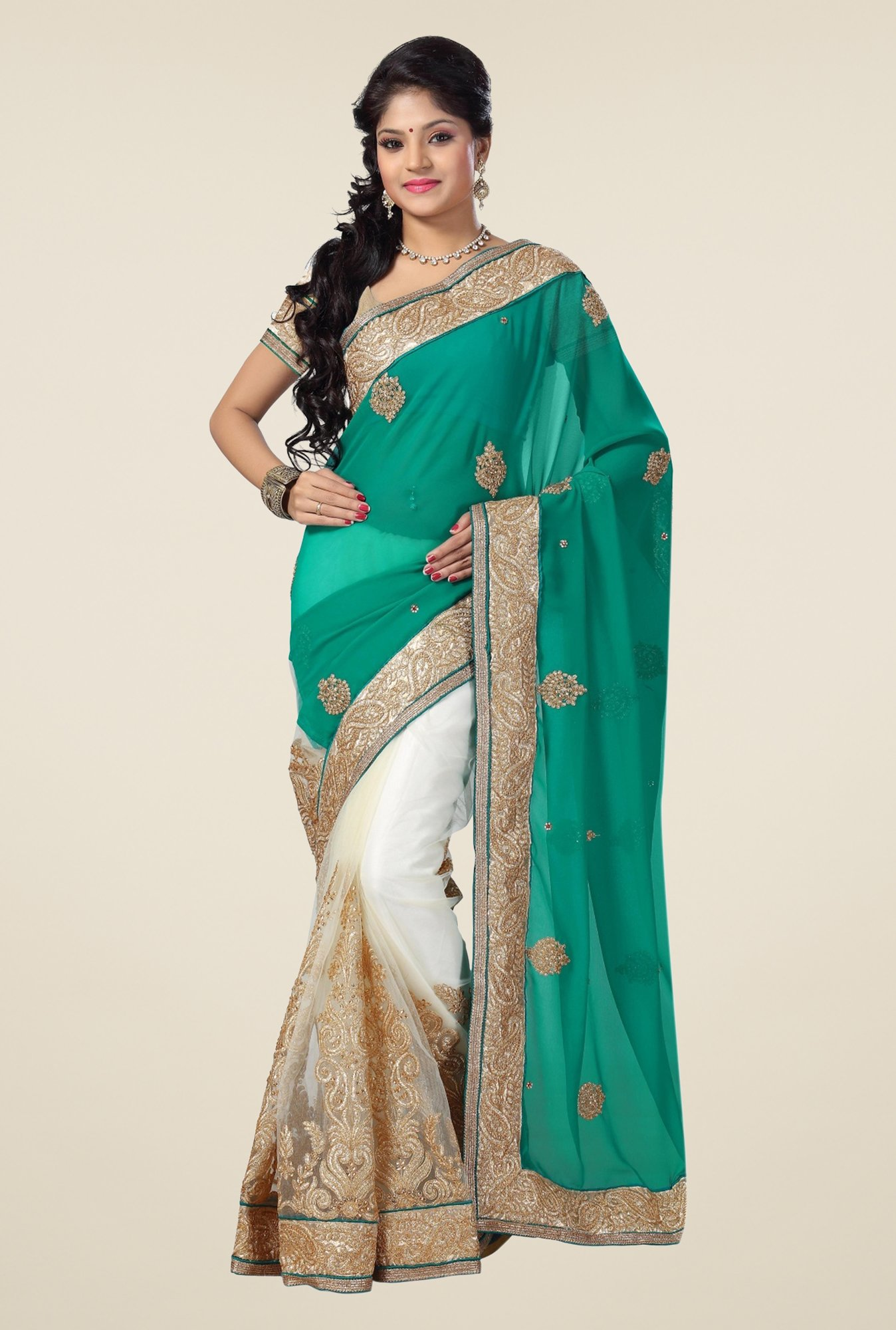 Triveni Off White & Teal Embroidered Faux Georgette Saree