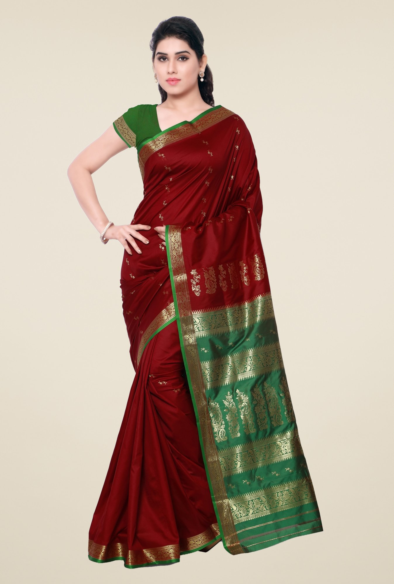 Triveni Maroon & Green Printed Art Silk Saree