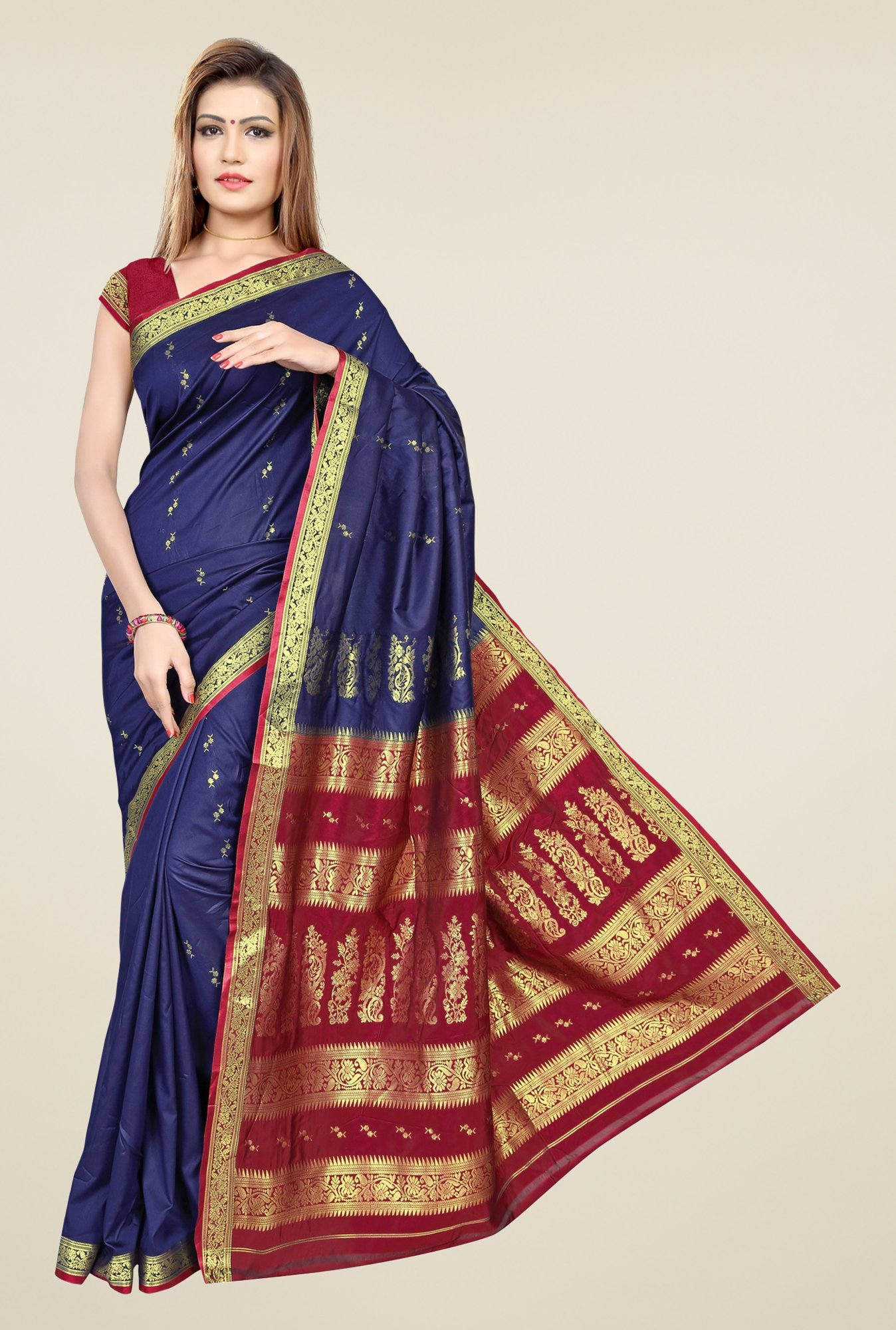 Triveni Navy & Maroon Printed Art Silk Saree