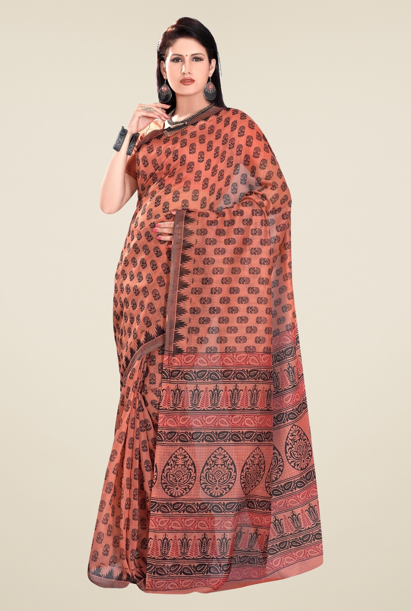 Triveni Brown Printed Blended Cotton Saree