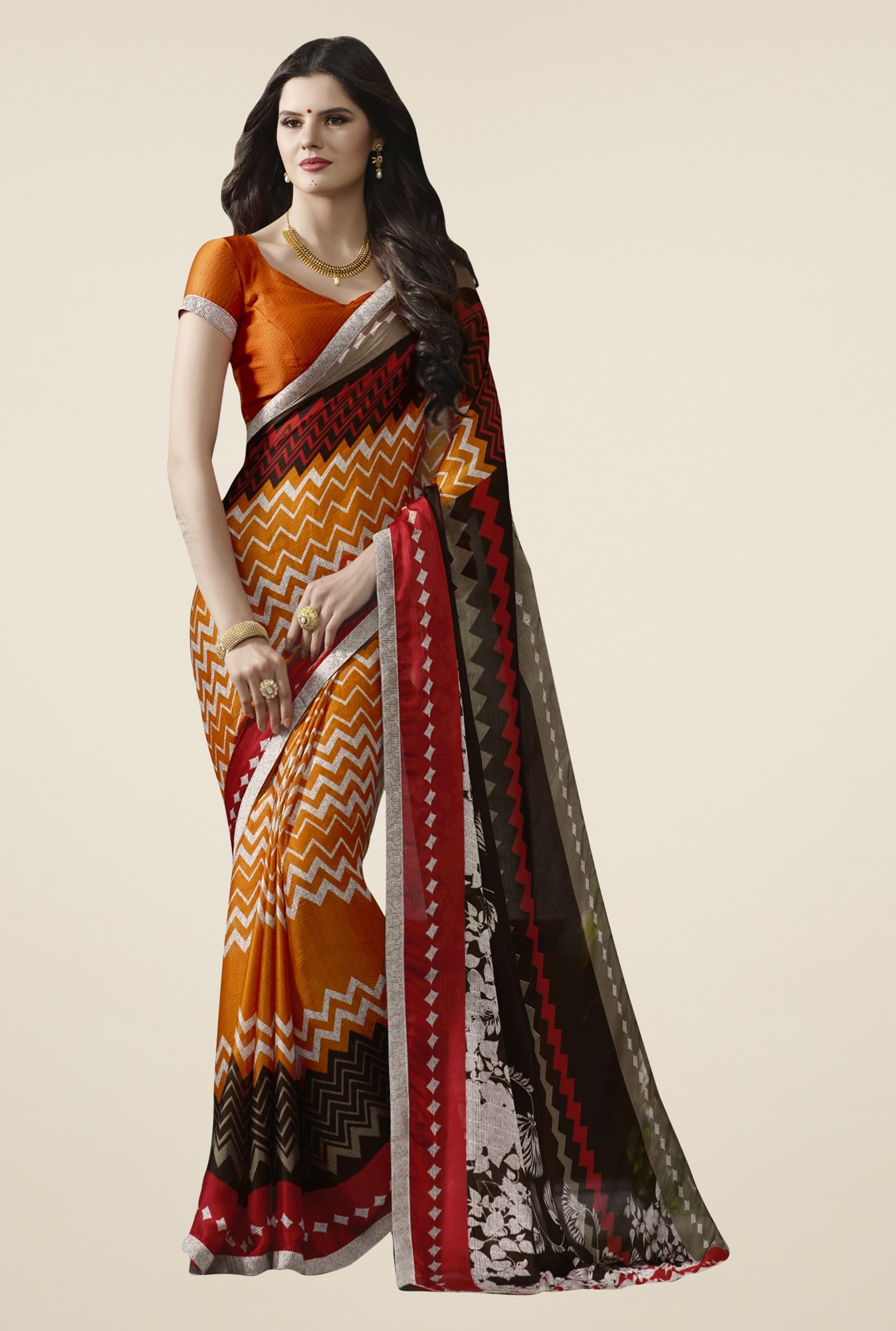 Triveni Orange Printed Satin Chiffon Saree