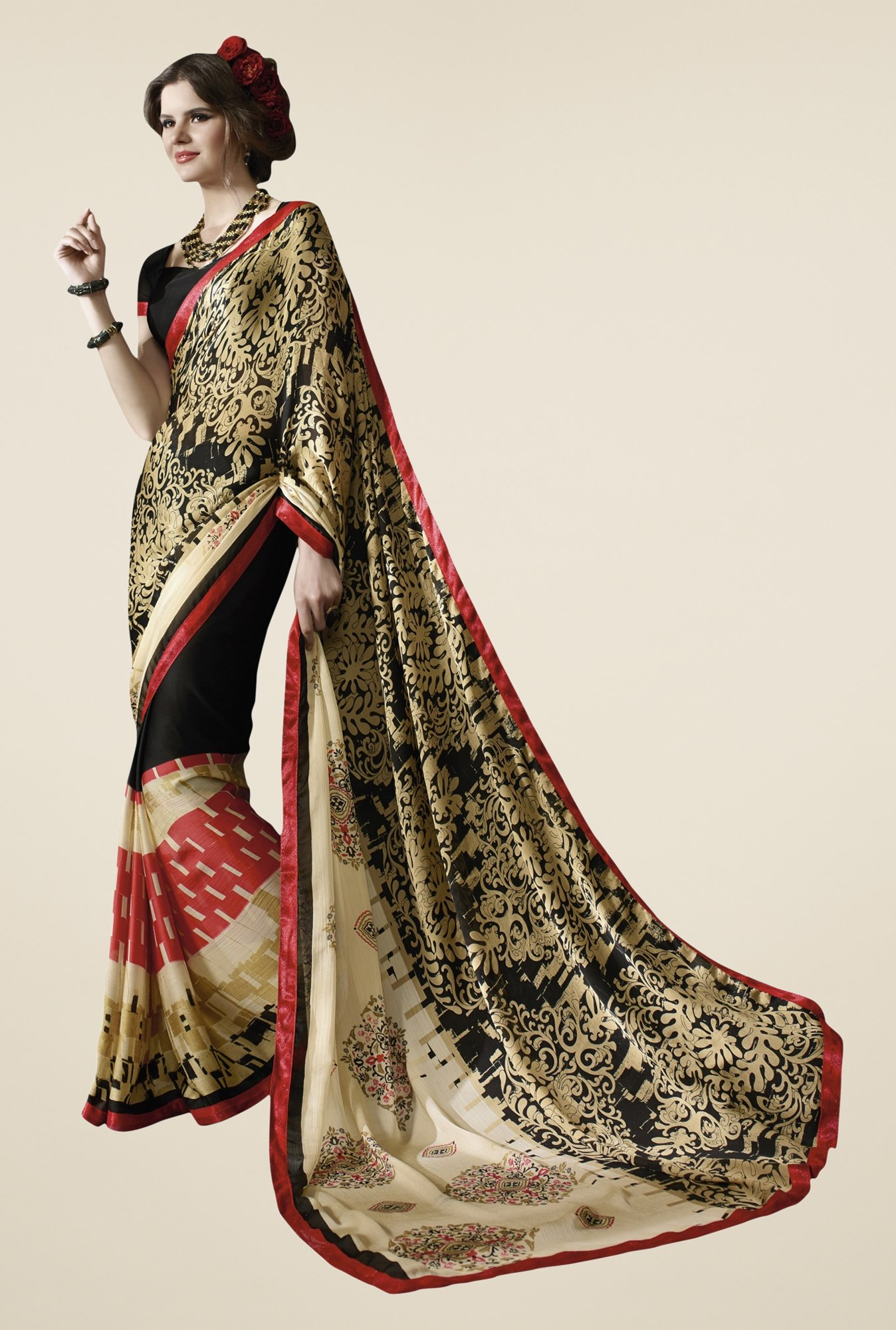Triveni Black Printed Satin Chiffon Saree