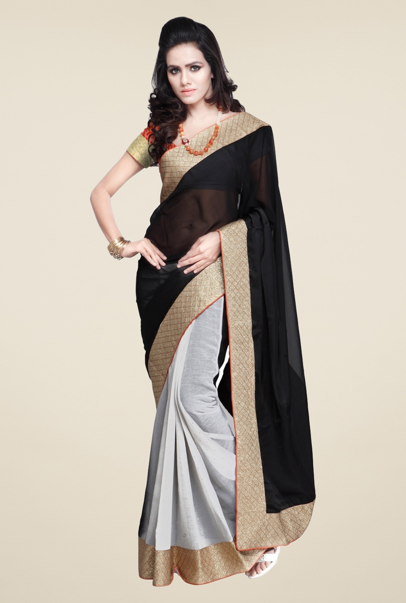 Triveni Off White & Black Solid Satin Chiffon Saree