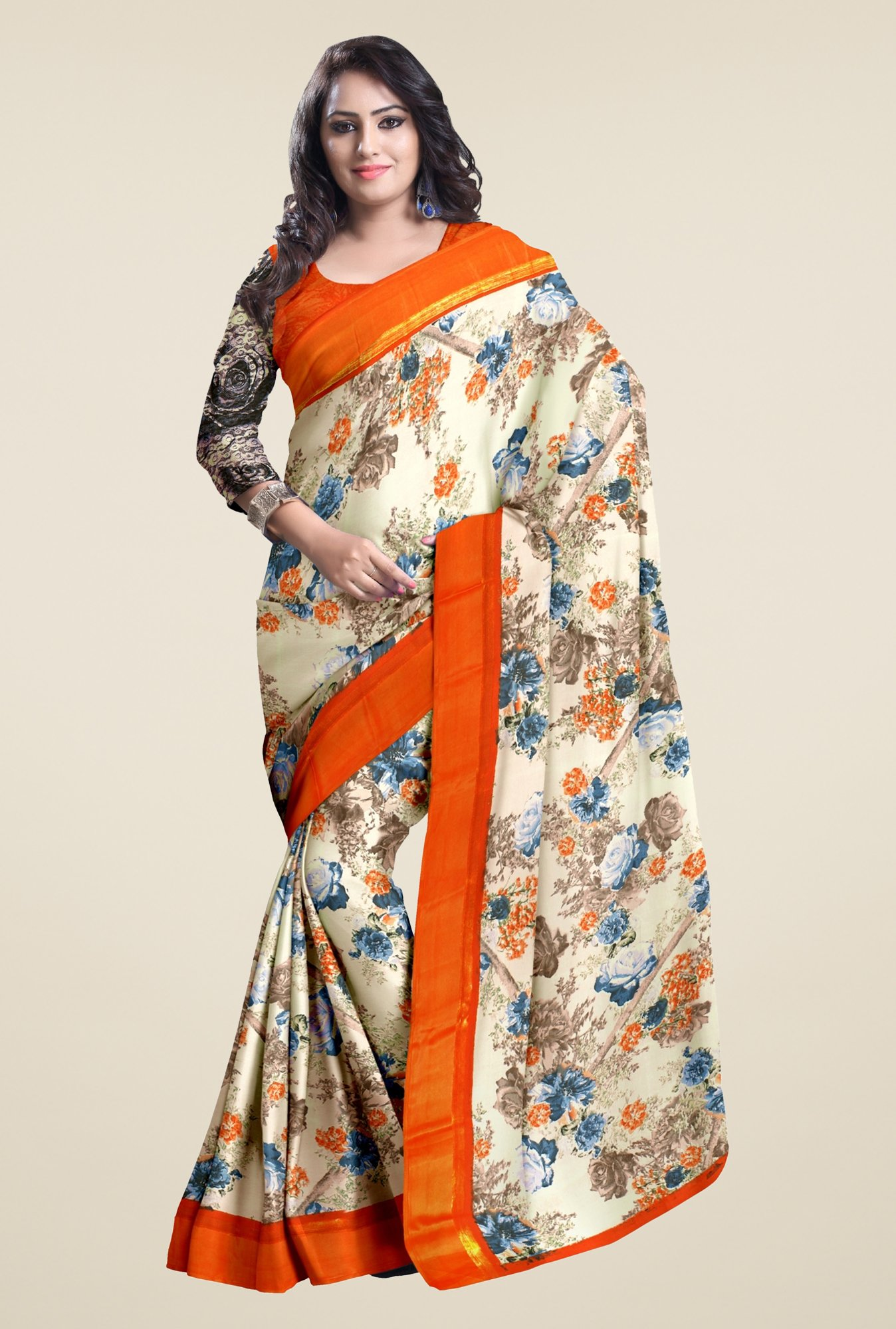 Triveni Cream Floral Faux Georgette Saree