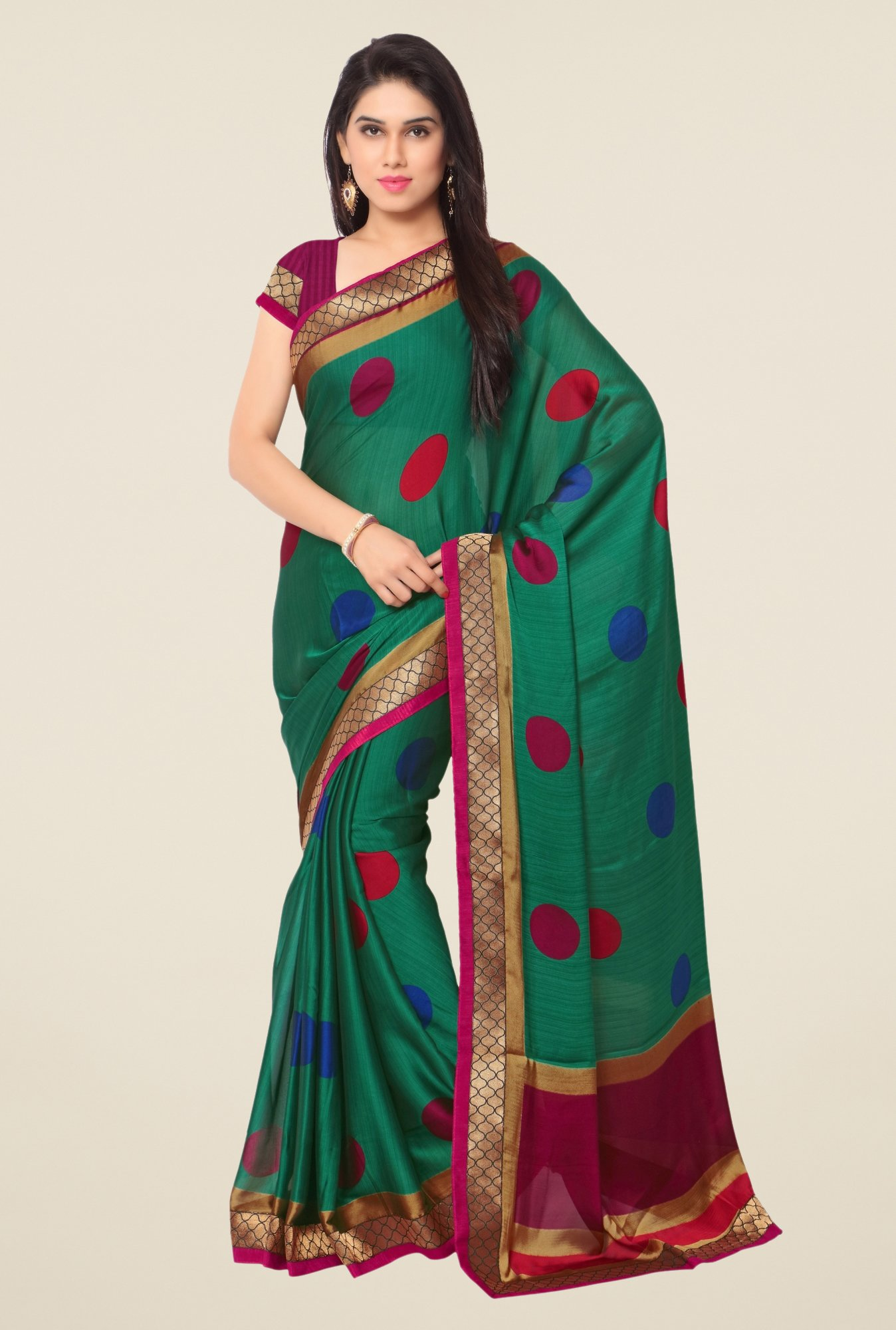 Triveni Green Printed Dry Clean Saree