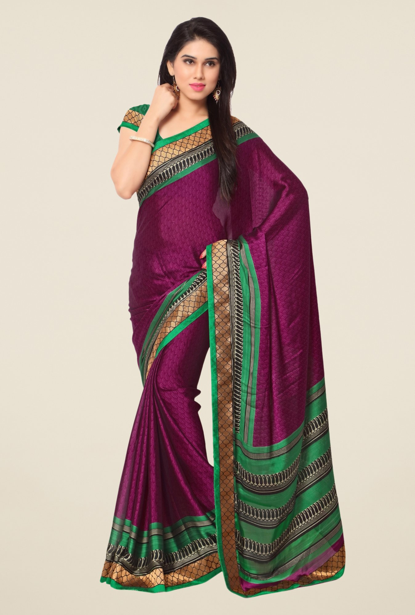 Triveni Purple Printed Faux Georgette Dry Clean Saree