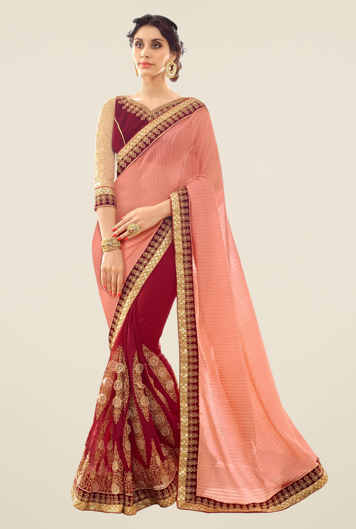 Triveni Maroon & Peach Embroidered Faux Georgette Saree