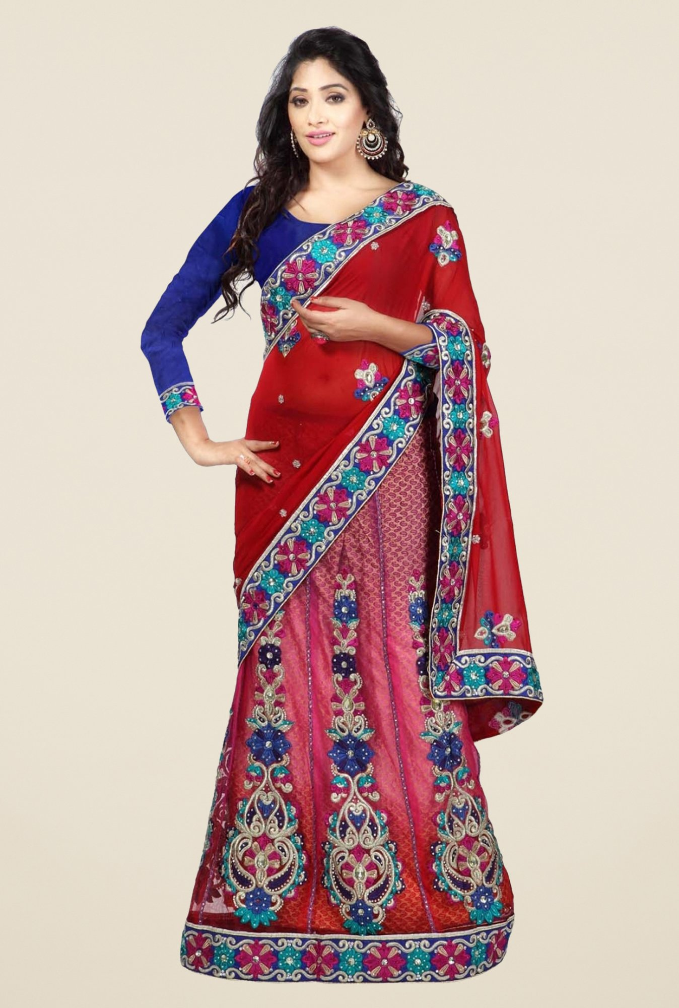 Triveni Maroon Embroidered Net Georgette Lehenga Saree