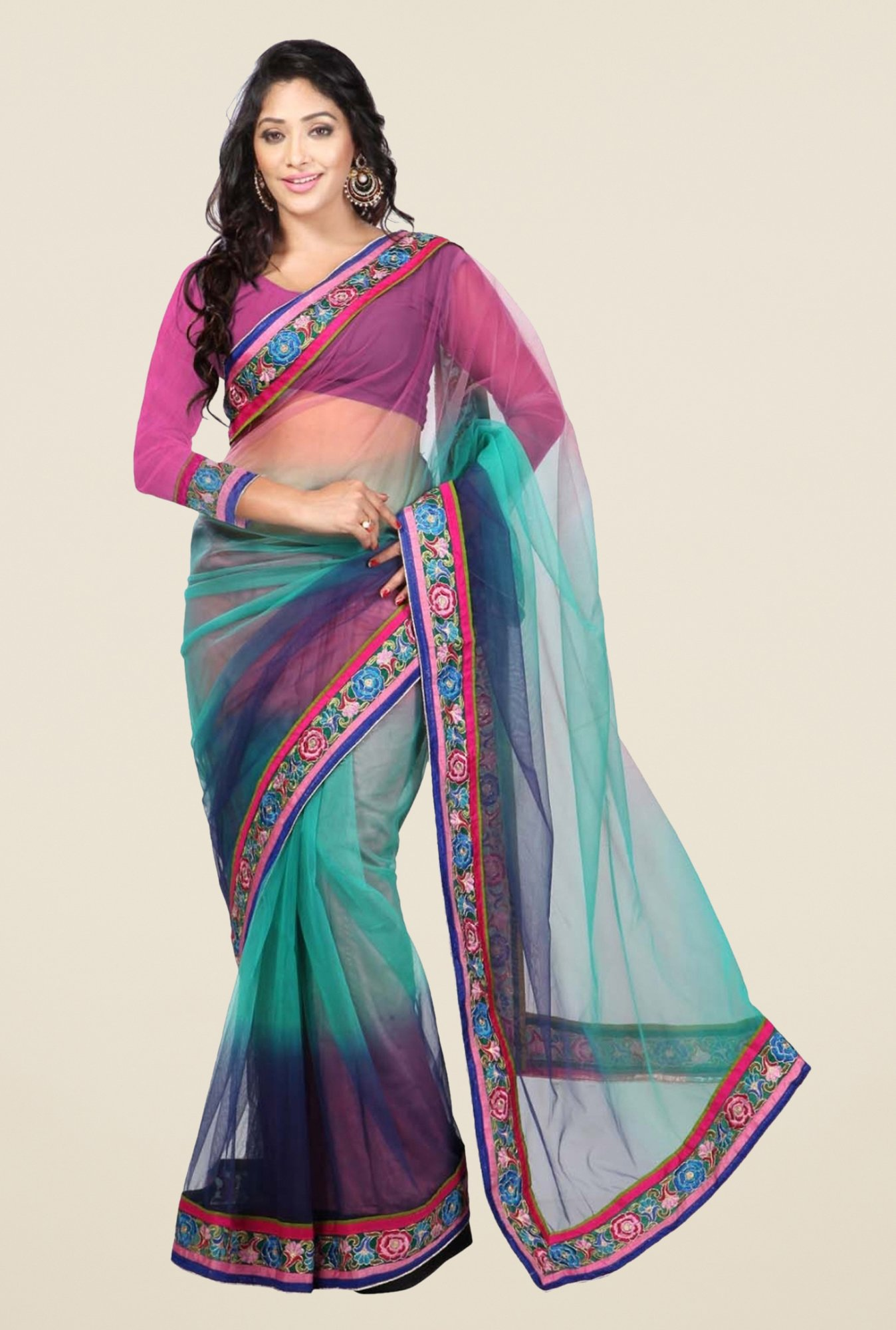 Triveni Blue Solid Net Saree