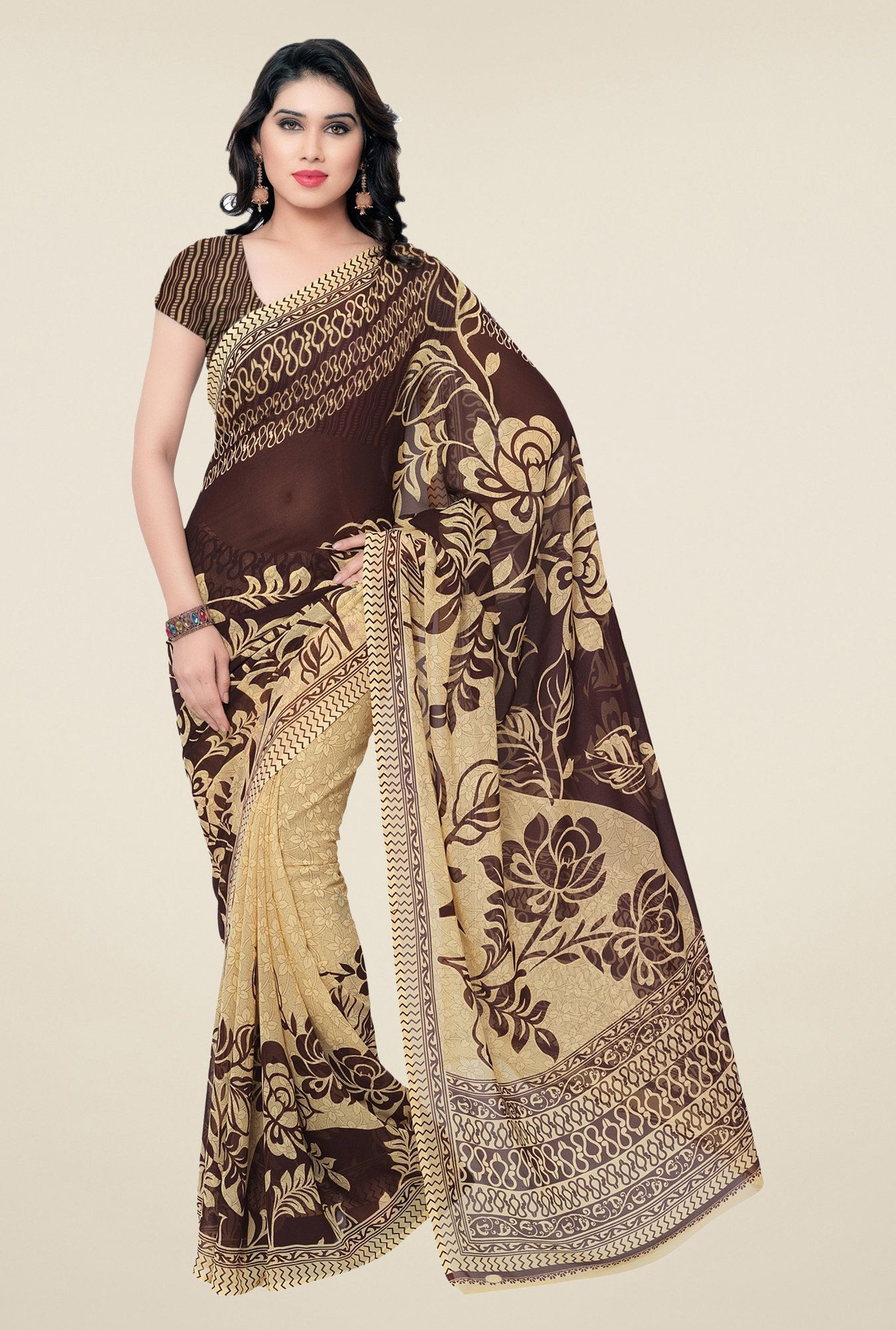 Triveni Brown & Beige Floral Faux Georgette Saree