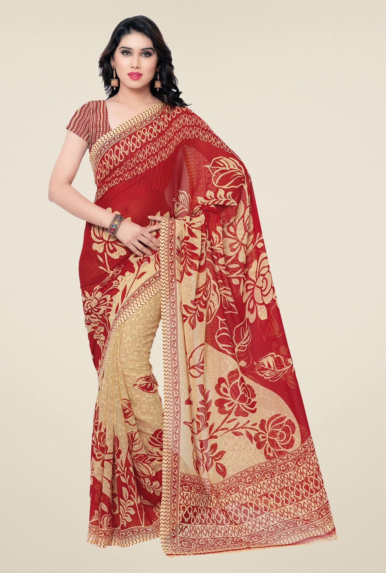 Triveni Red & Beige Floral Faux Georgette Saree
