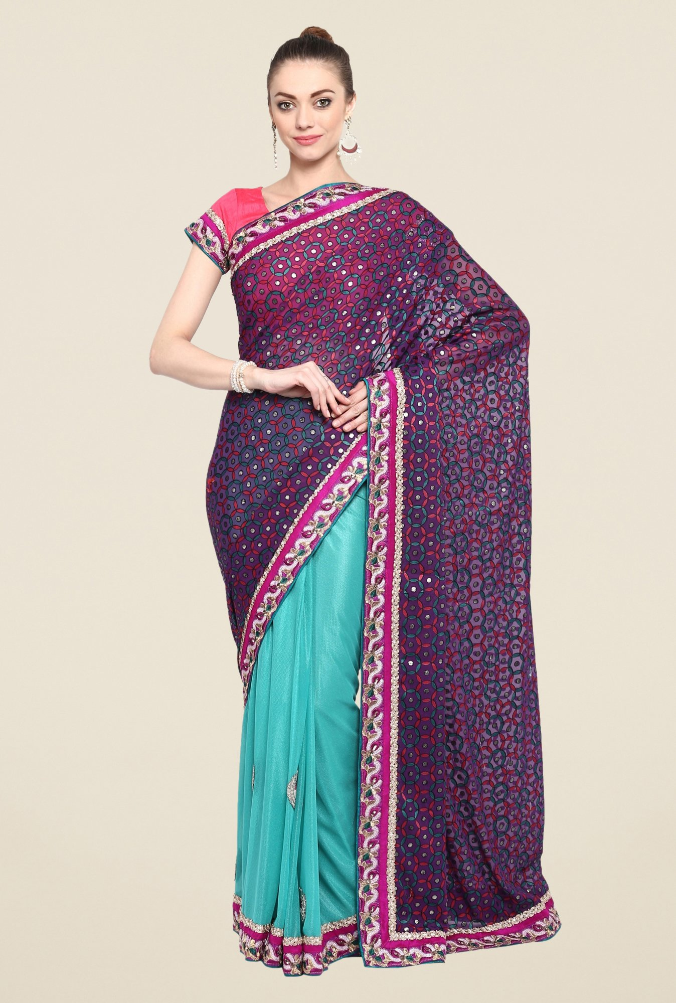 Triveni Turquoise Printed Georgette Lycra Saree