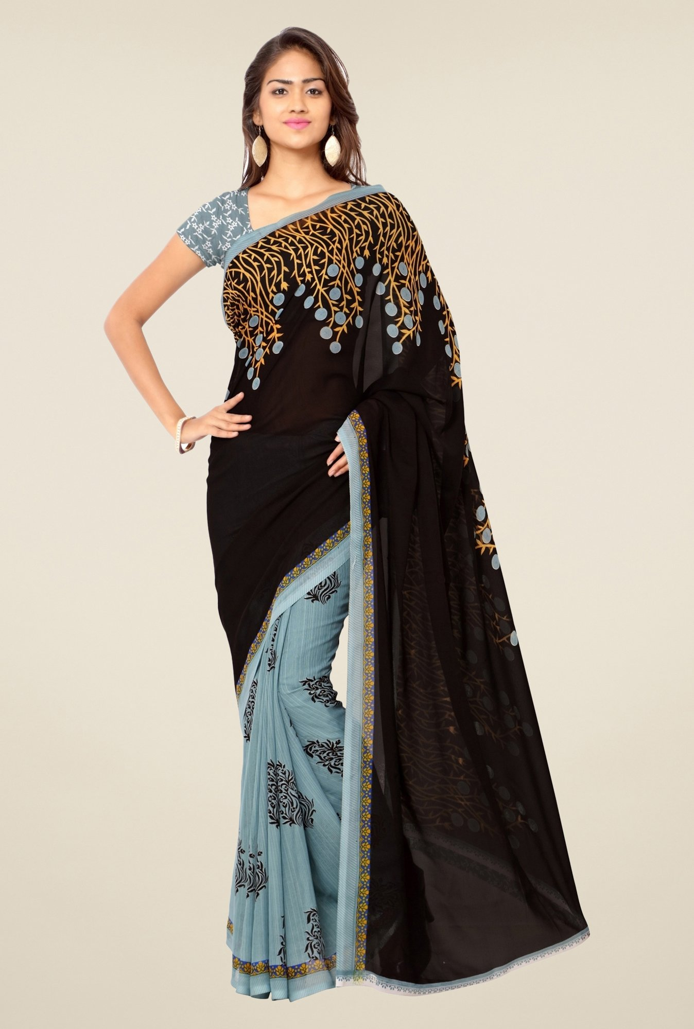 Triveni Grey & Black Printed Faux Georgette Saree