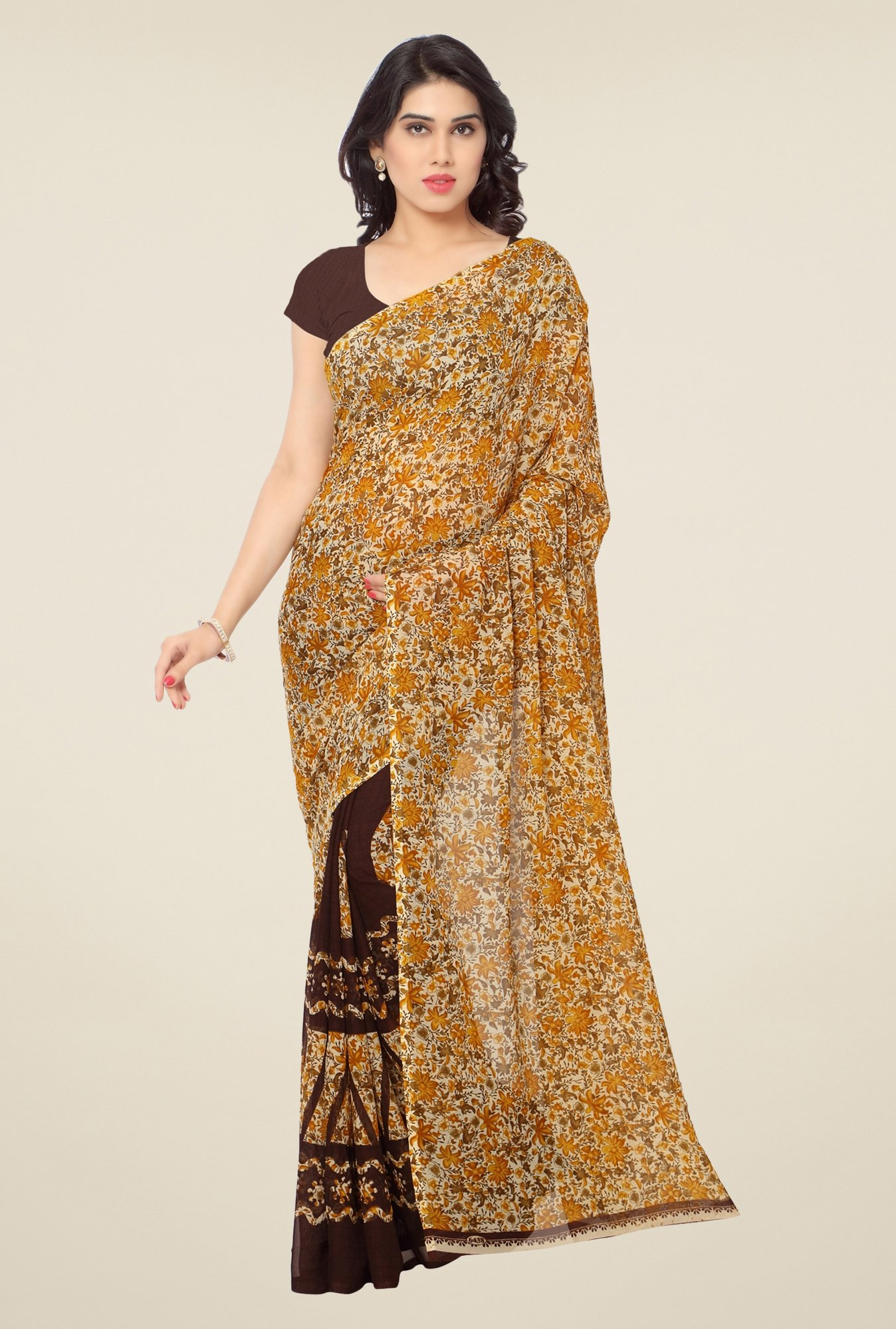 Triveni Brown Floral Faux Georgette Saree