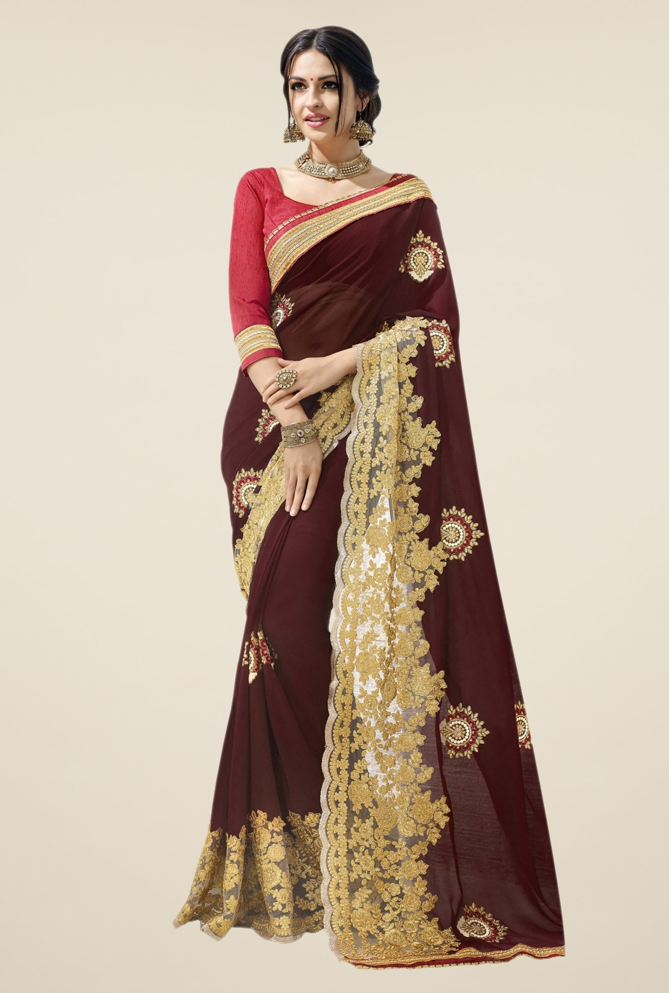 Triveni Maroon Embroidered Faux Georgette Free Size Saree