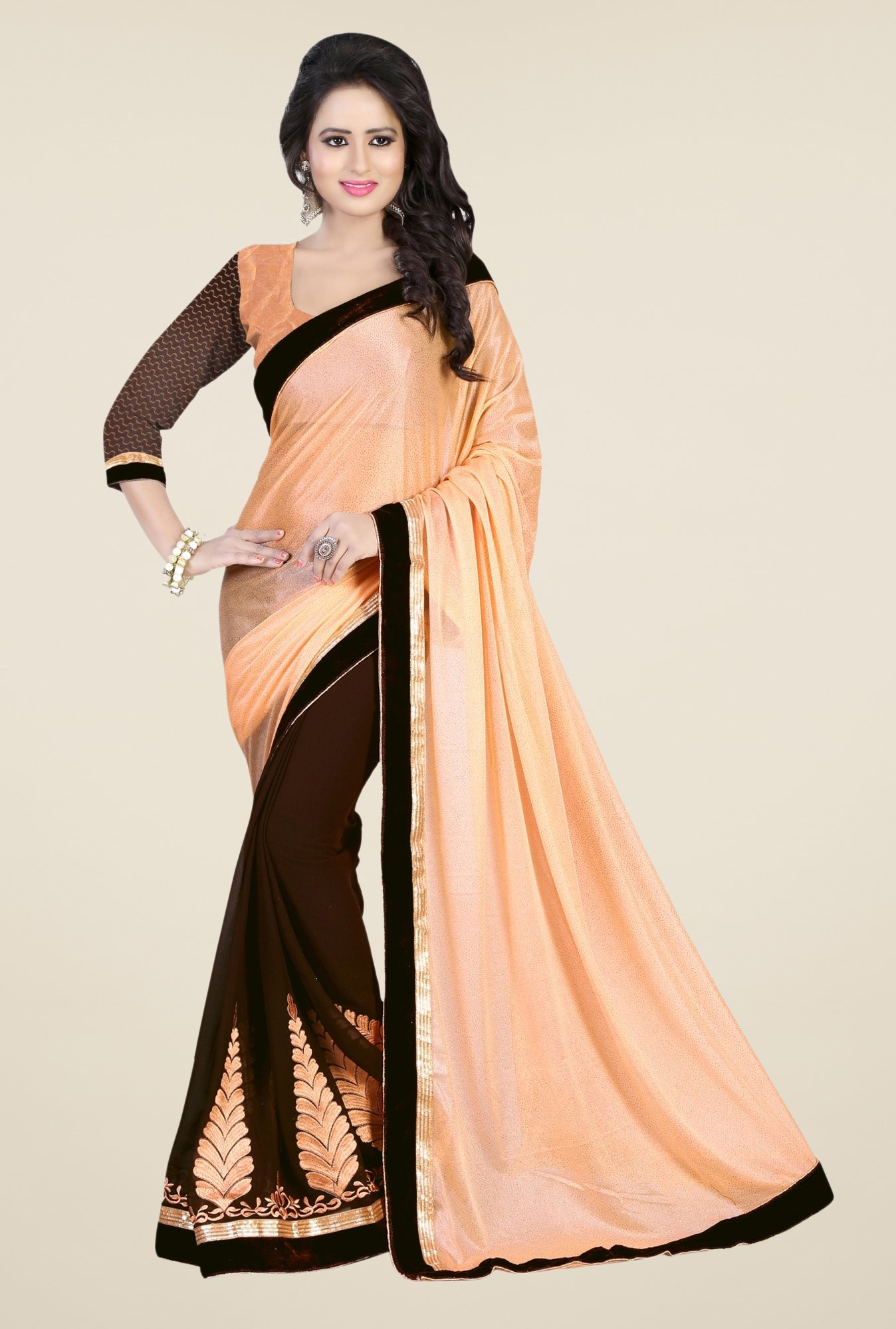 Triveni Brown Printed Lycra Georgette Saree