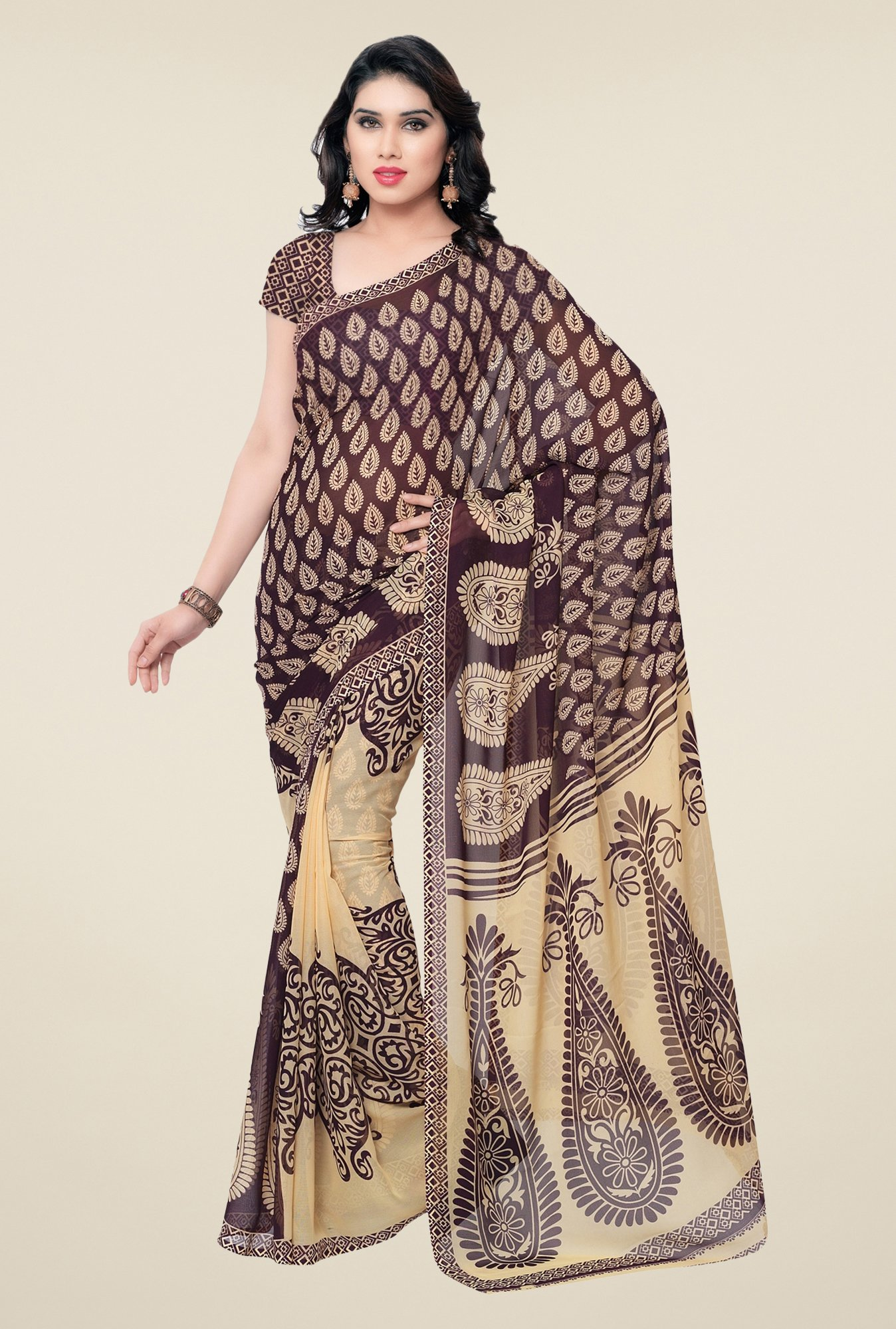 Triveni Purple & Beige Paisley Faux Georgette Saree