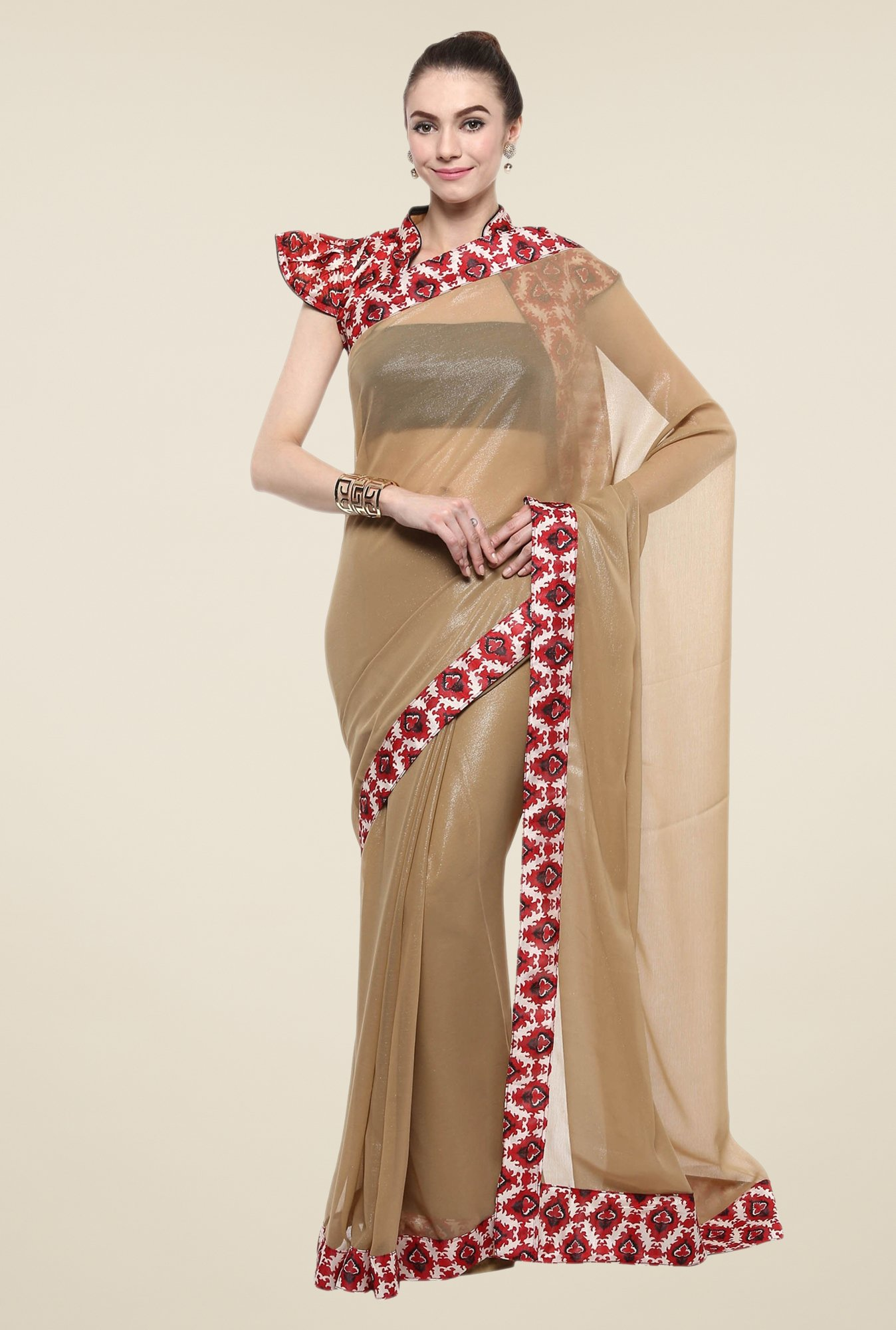 Triveni Beige Solid Georgette Shimmer Free Size Saree