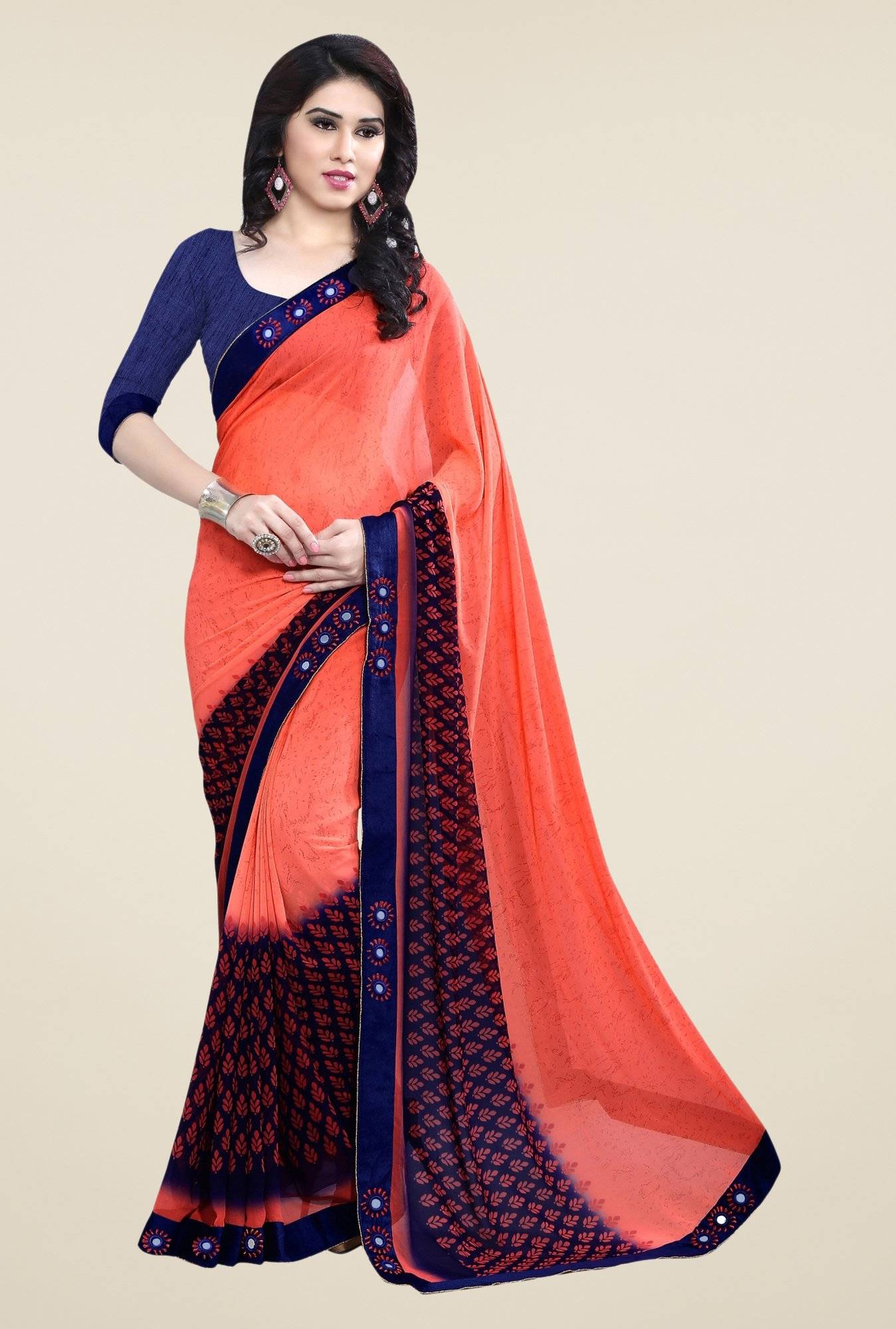 Triveni Orange Printed Free Size Saree