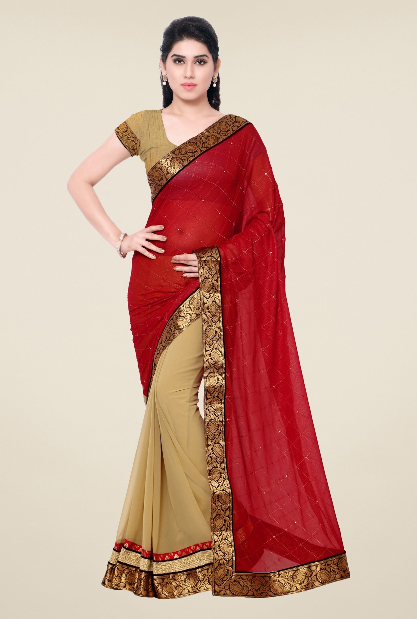 Triveni Beige & Red Solid Faux Georgette Saree
