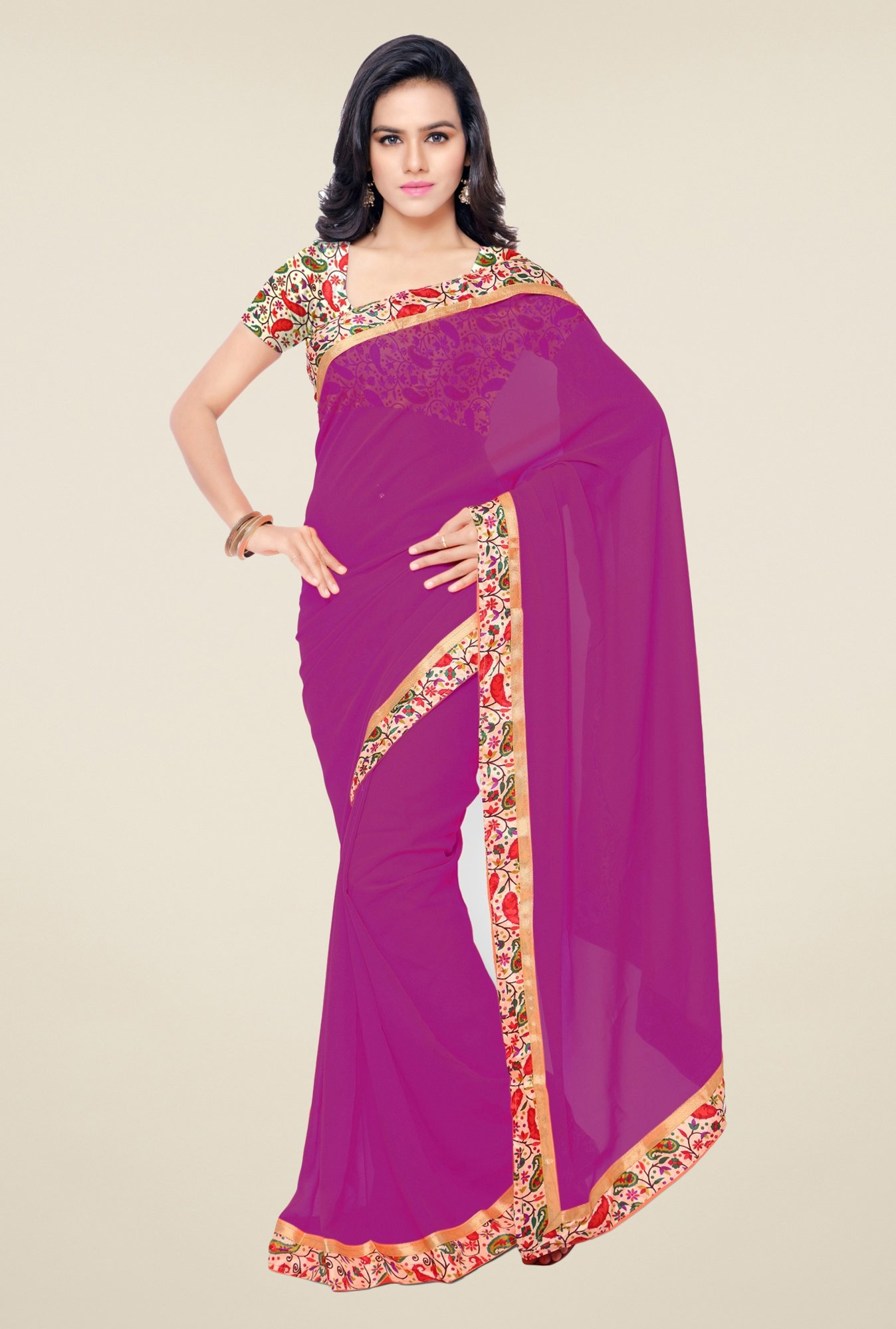 Triveni Purple Solid Faux Georgette Saree