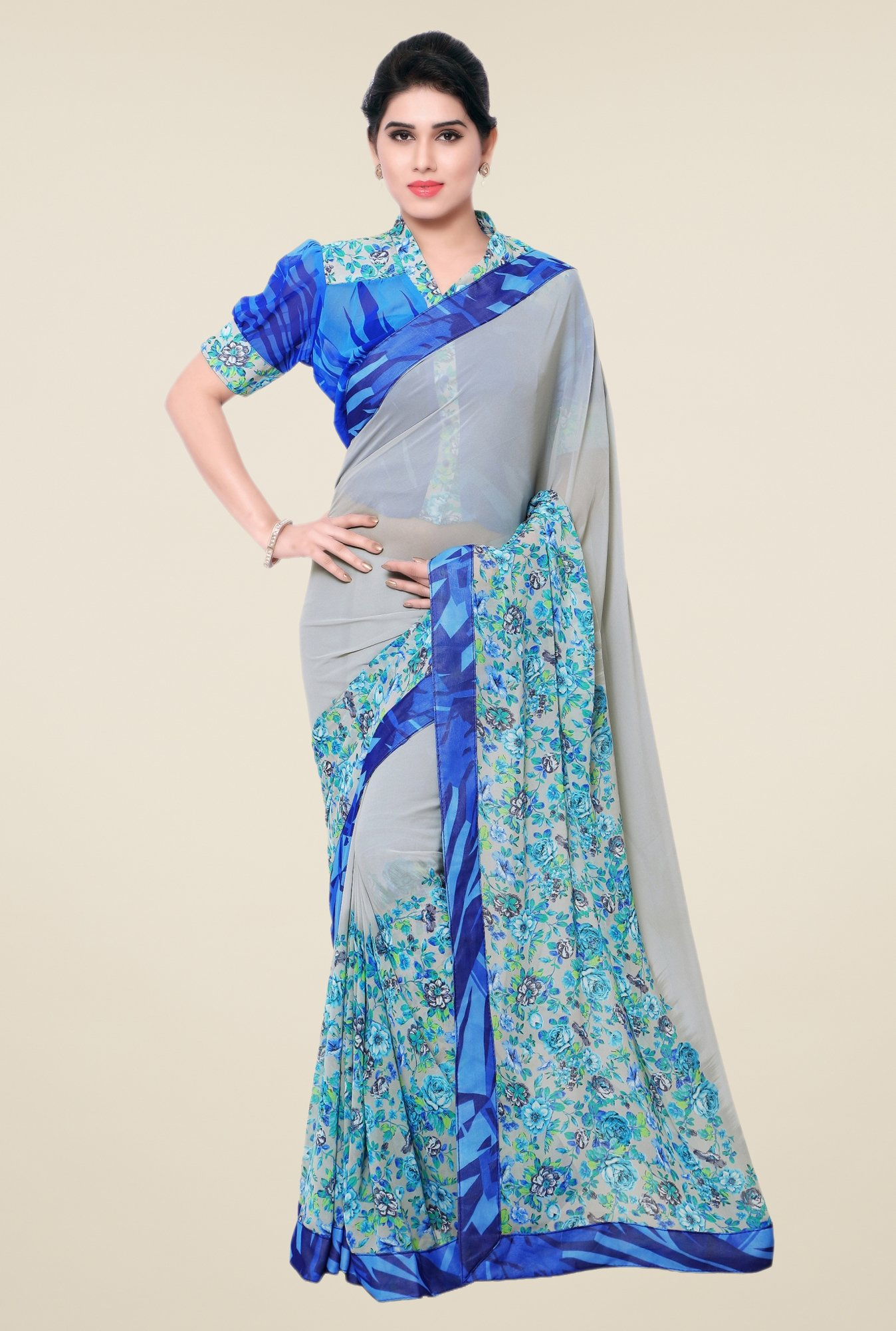 Triveni Grey Floral Faux Georgette Saree