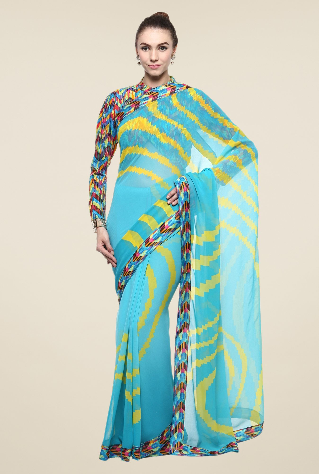 Triveni Turquoise Striped Faux Georgette Saree