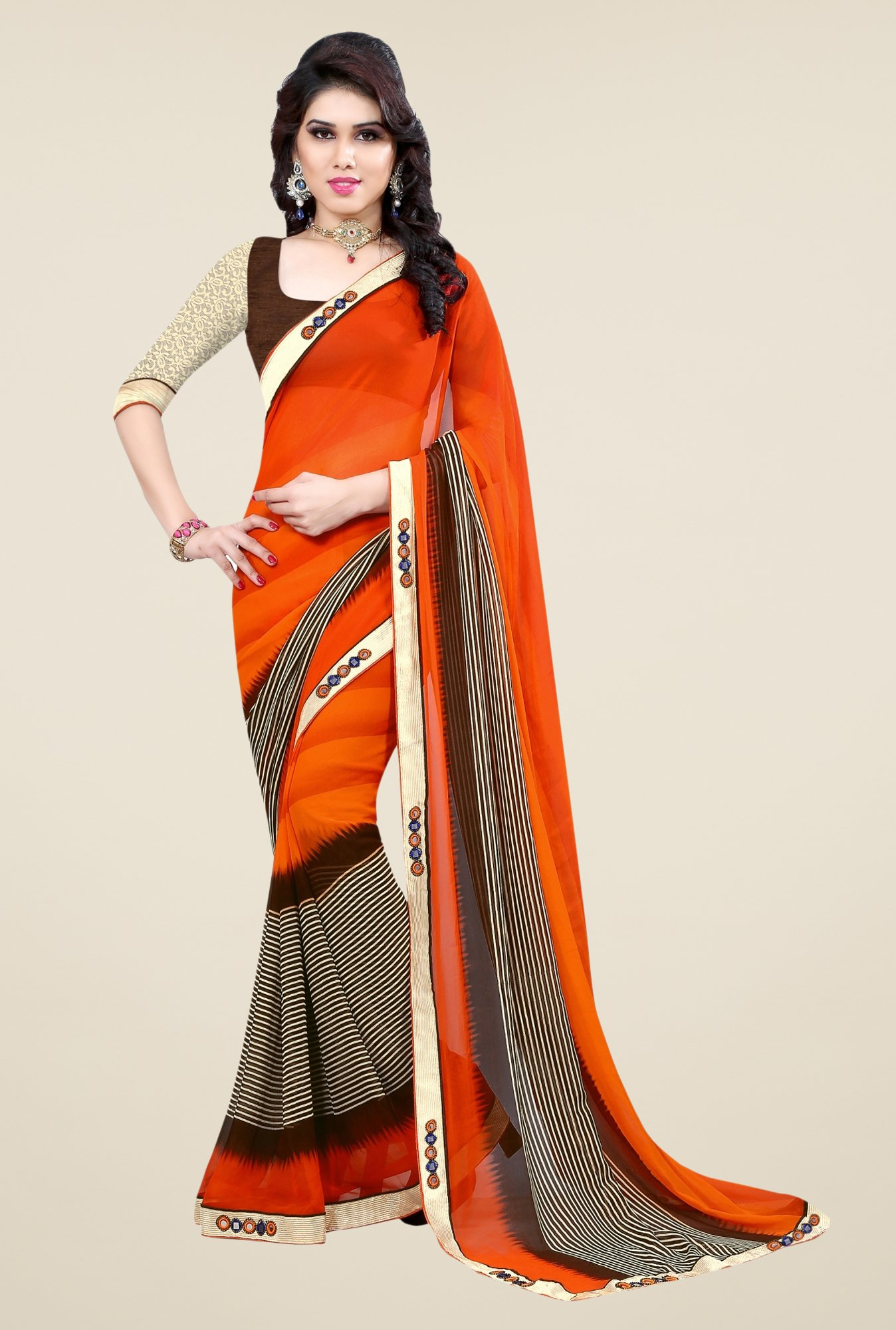 Triveni Orange Faux Georgette Free Size Saree
