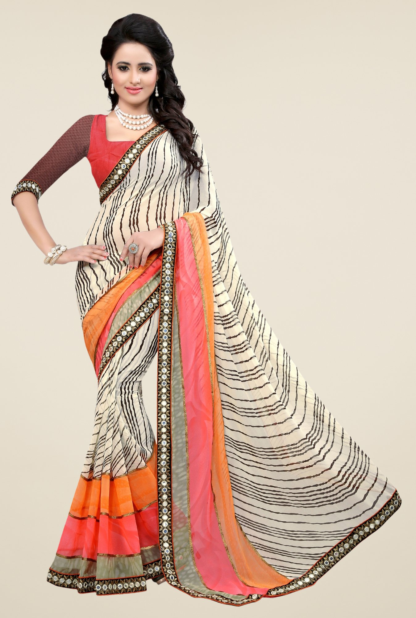 Triveni Cream Printed Faux Georgette Free Size Saree