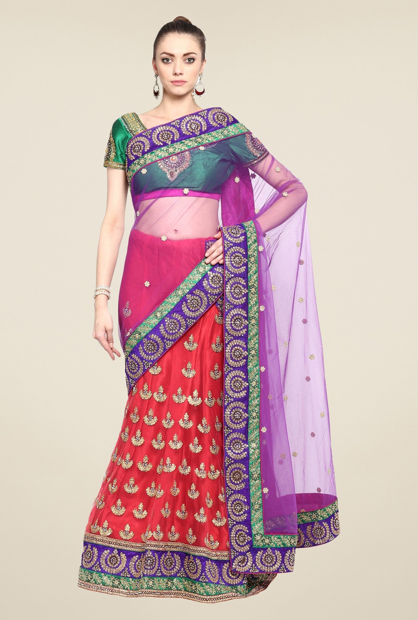 Triveni Multicolor Embroidered Satin Lehenga Saree